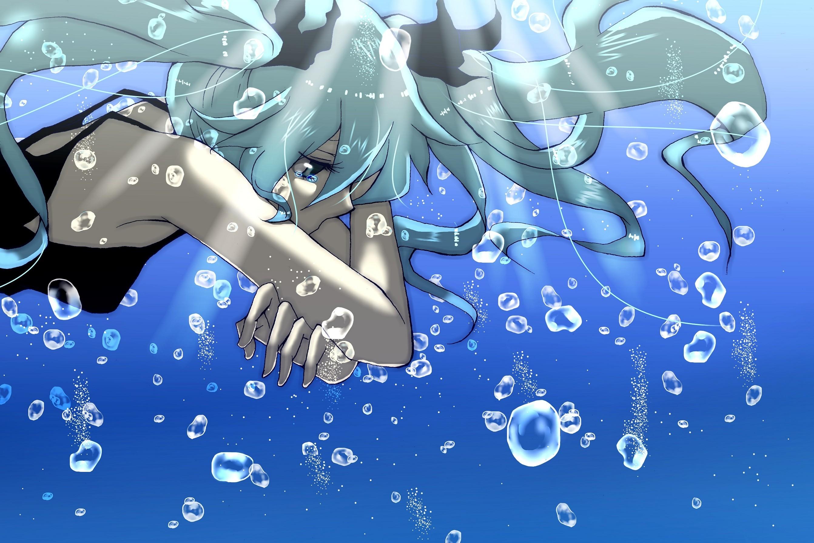 Girl Water Bubbles Sadness Classy Sad Anime Wallpaper