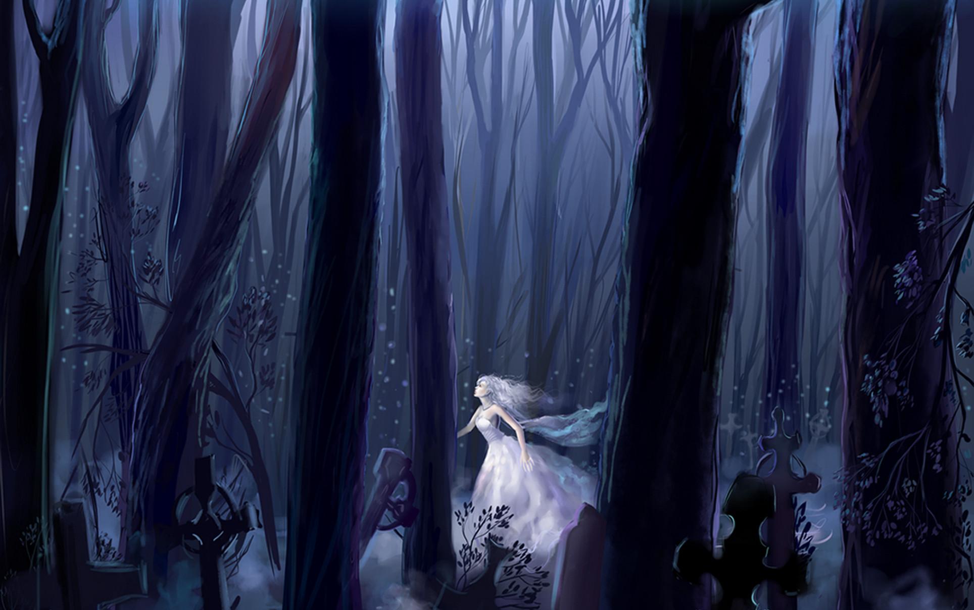 Sad Anime Girl White Dress | Girl, forest, night, running, white dress