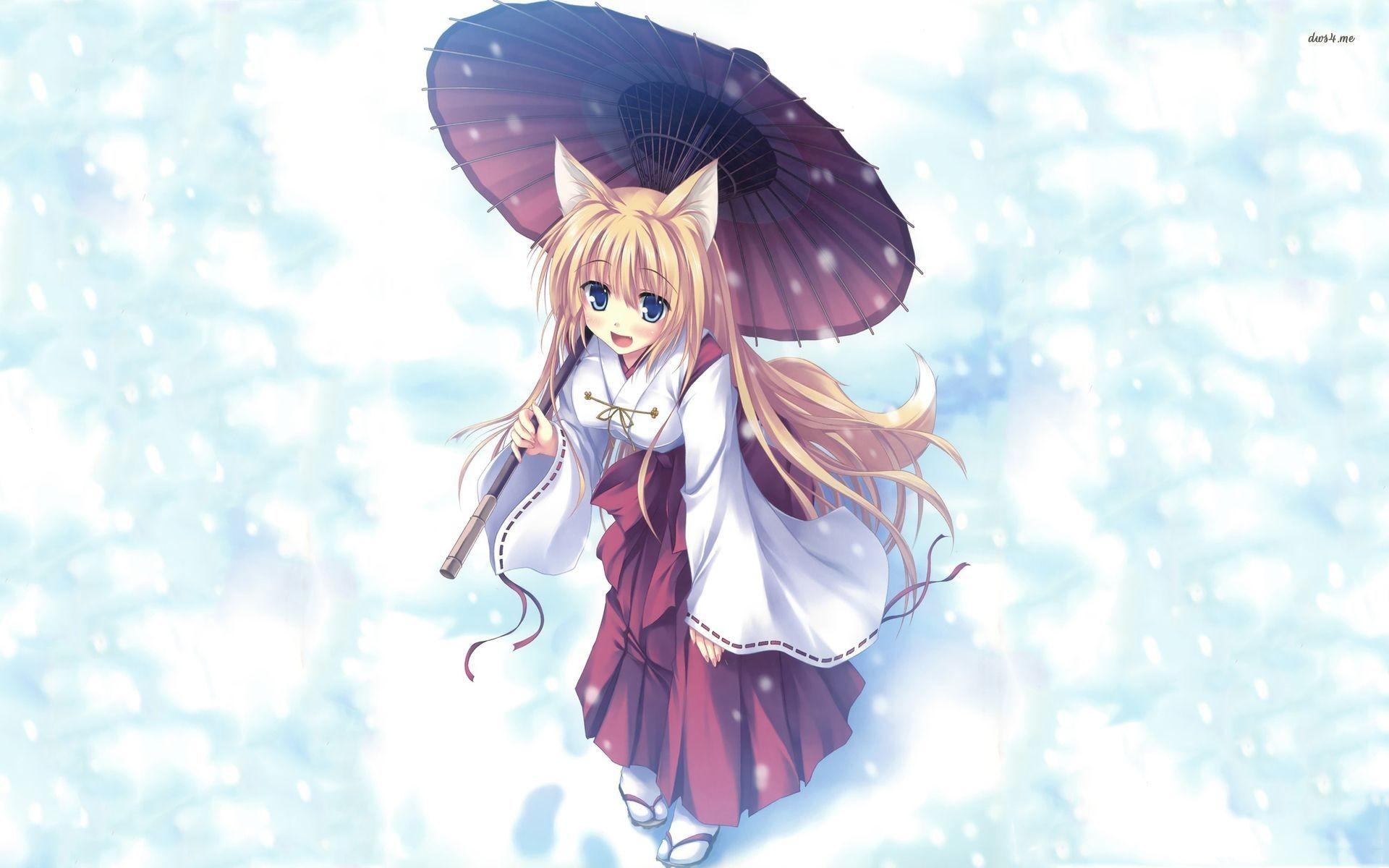 Cat girl with kimono wallpaper – Anime wallpapers – #40120