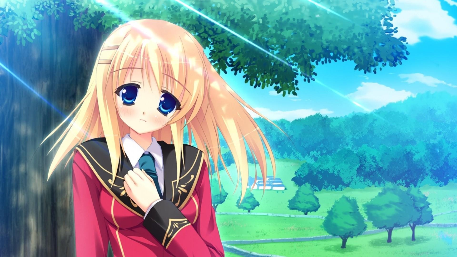 Wallpaper anime, girl, sad, tree, park, spring