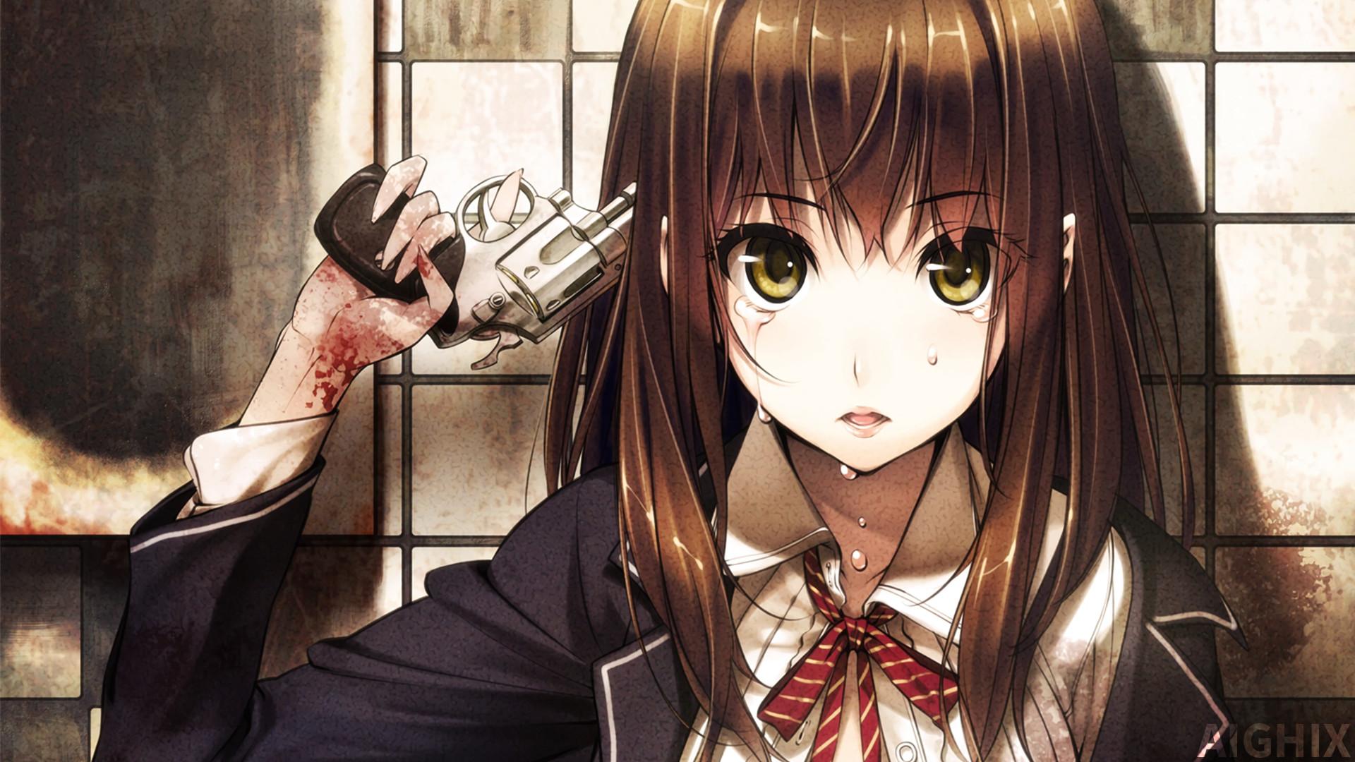 … Sad Anime Girl With Gun Wallpaper by AIGHIX