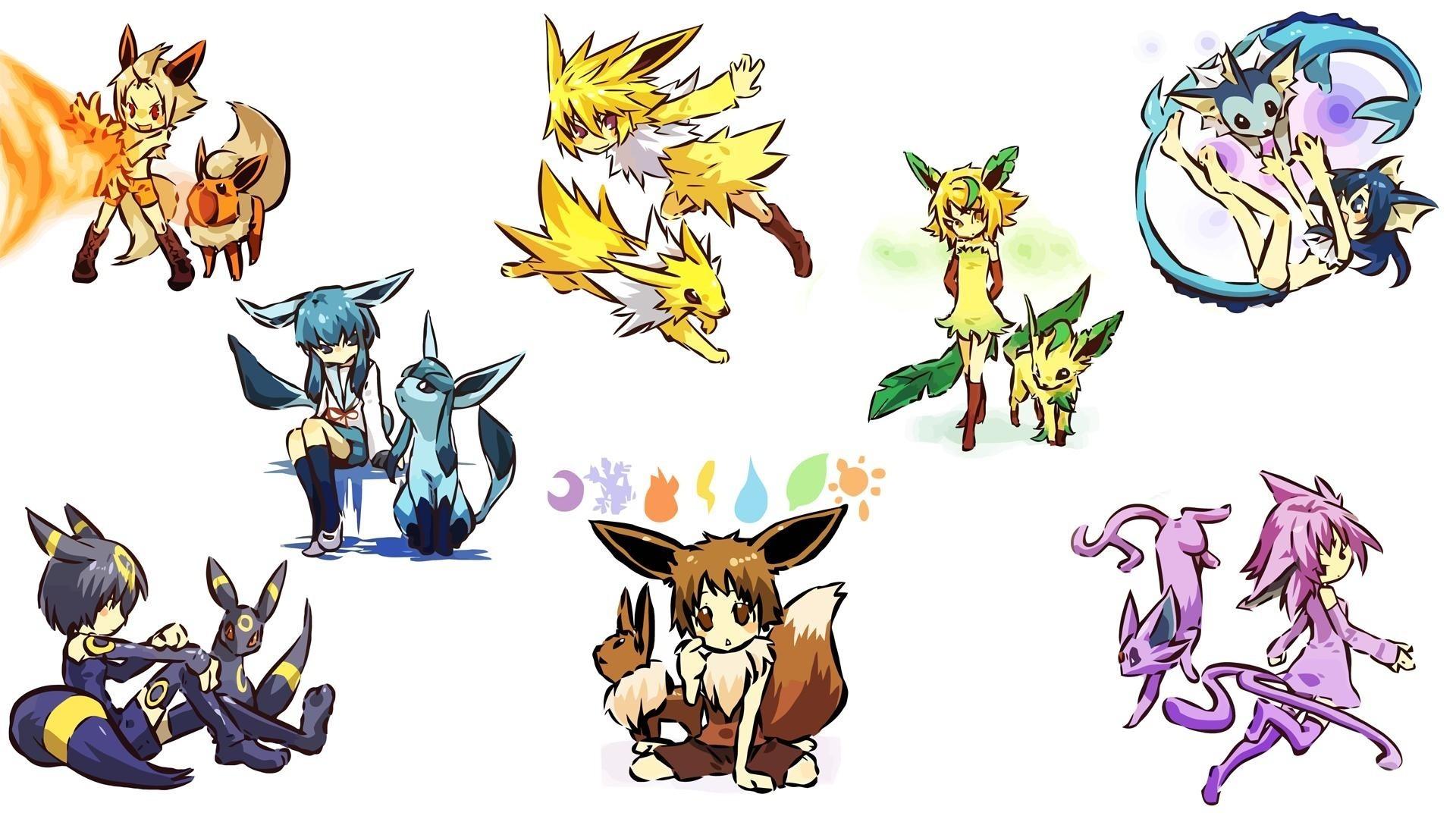 Pokemon flareon eevee espeon umbreon vaporeon jolteon eeveelutions leafeon  glaceon hitec Wallpaper