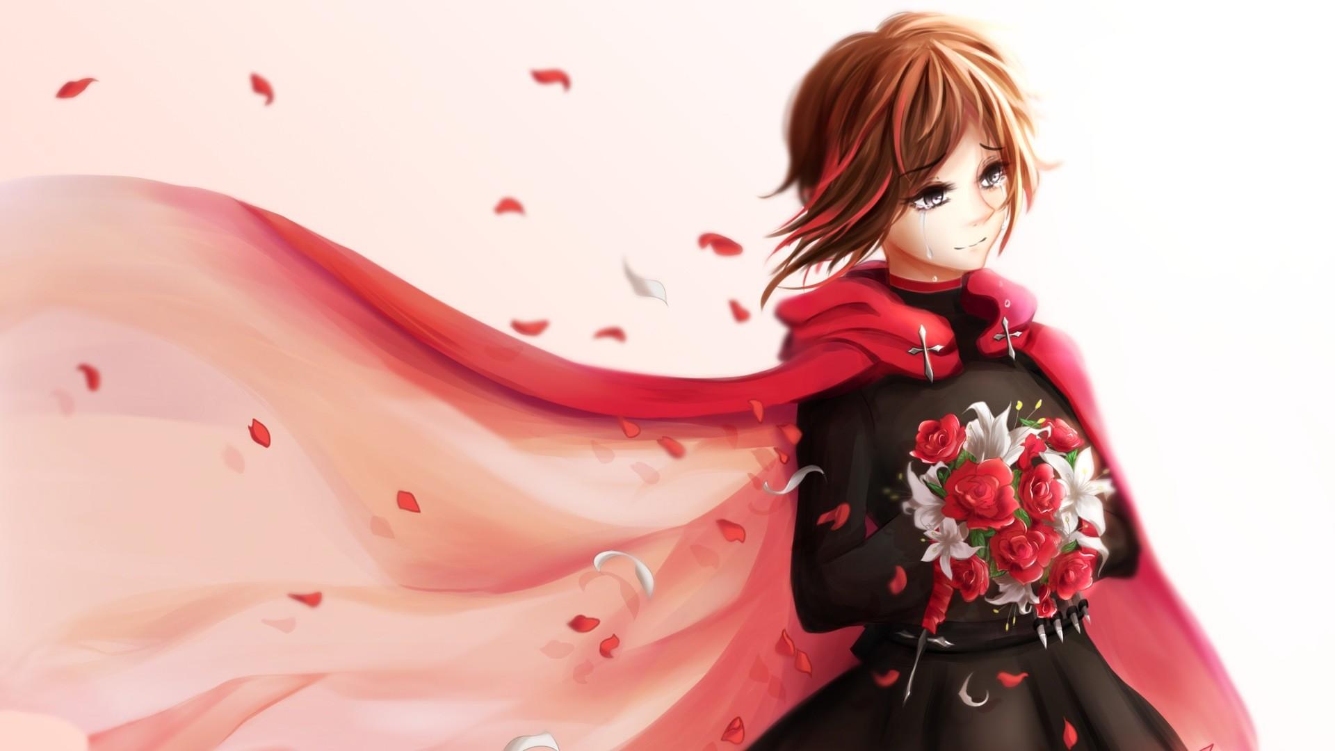 Wallpaper Rwby, Ruby rose, Anime, Girl, Bouquet