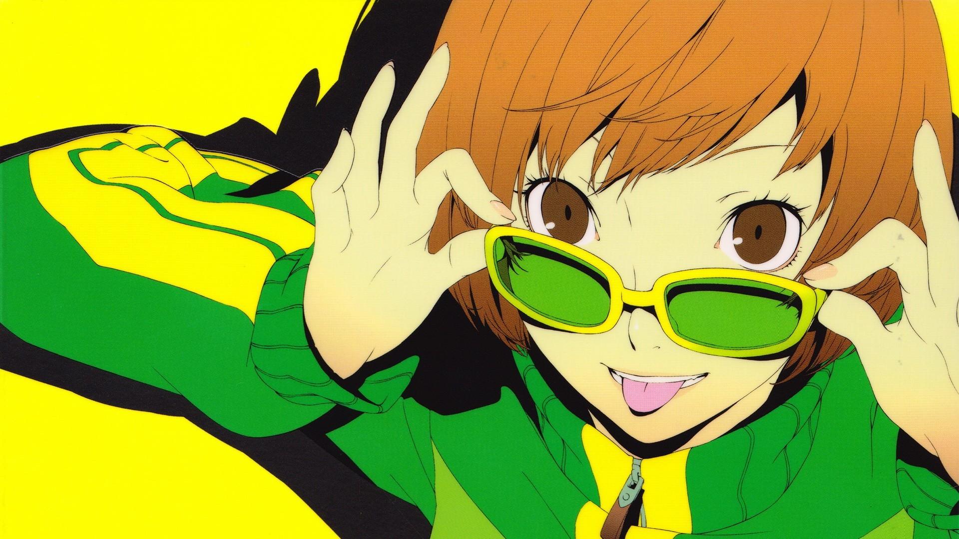 Brown Eyes Brunettes Close-up Faces Glasses Meganekko Persona 4 Series  Satonaka Chie Shin Megami Tensei Short Hair Simple Background Soejima  Shigenori …
