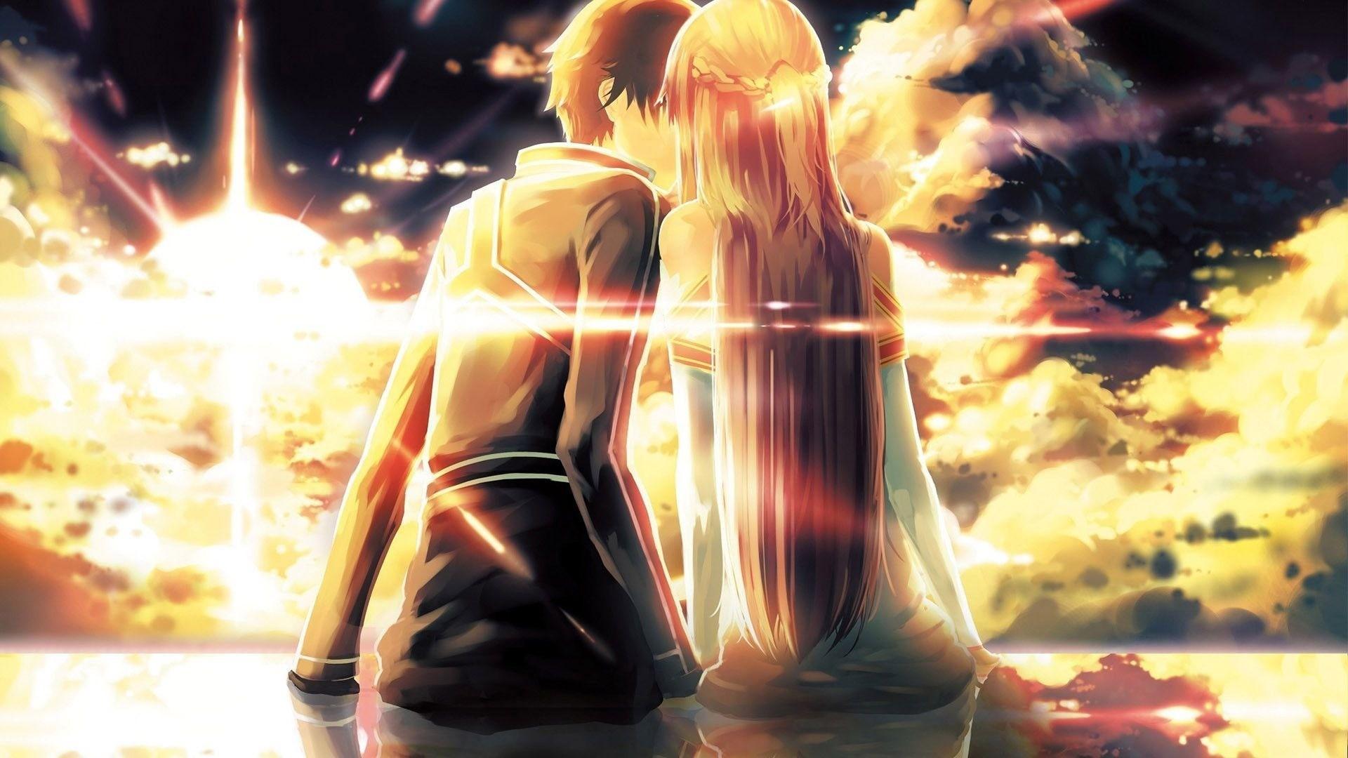 Anime Couple Kiss HD Wallpaper