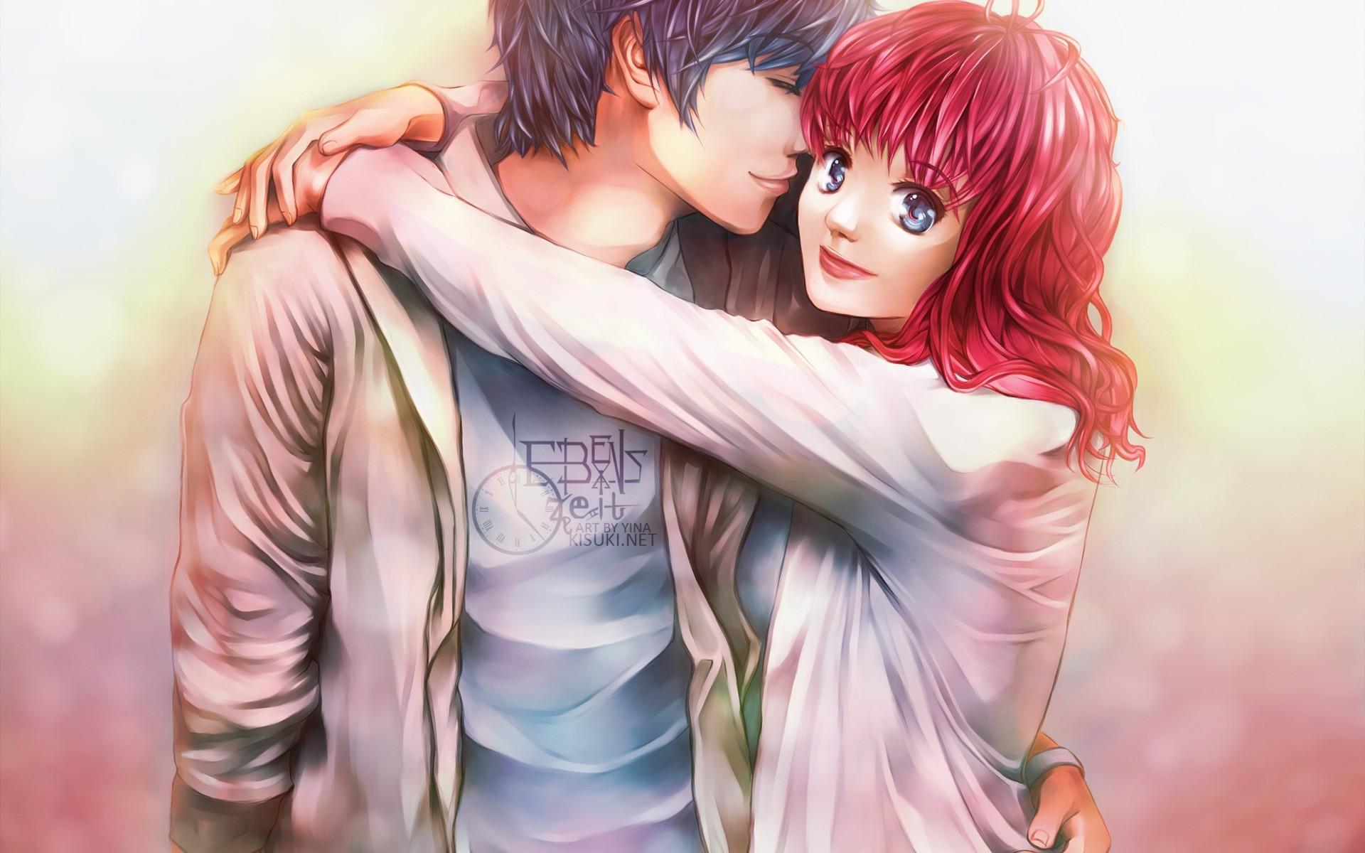 – anime couple, romance, semi realistic # original resolution