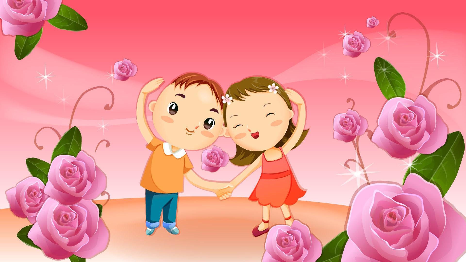 Download Cute cartoon couple wallpaper