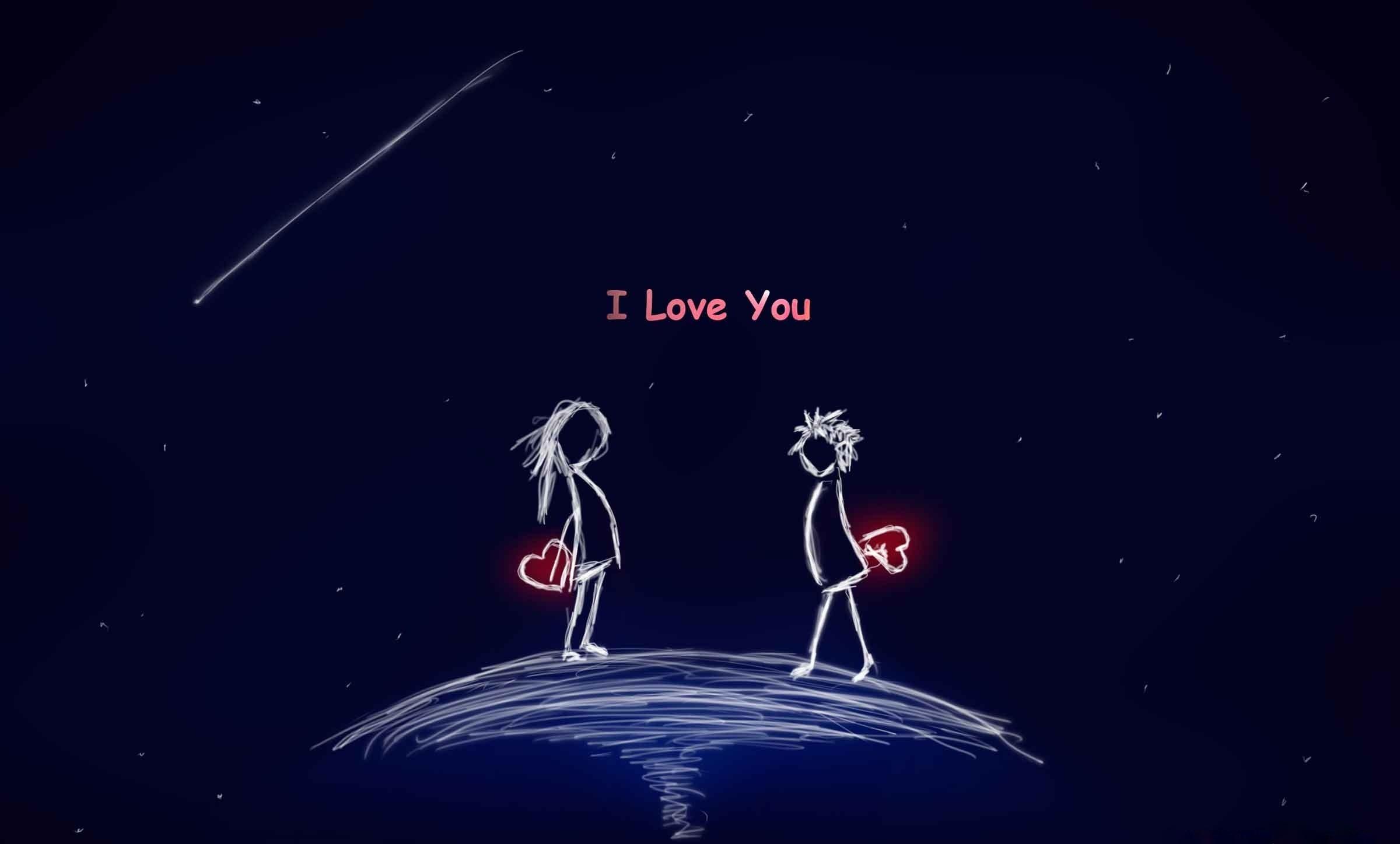 I love you cartoon couple wallpaper