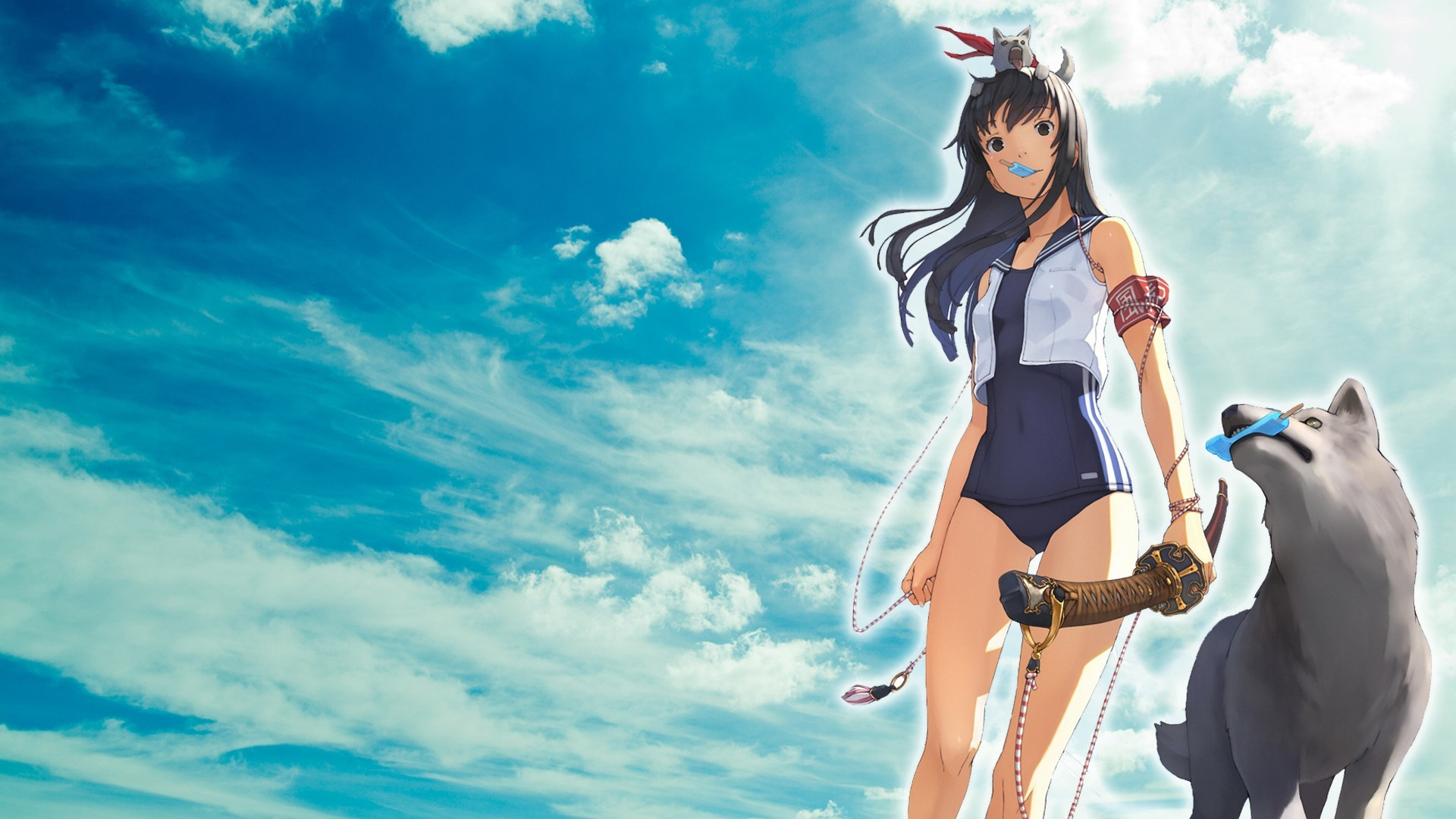 Anime Girls Black Eyes Hair Clouds Ice Cream Katana Long Low-angle Shot  School Swimsuits Uniforms Weapons Wolves