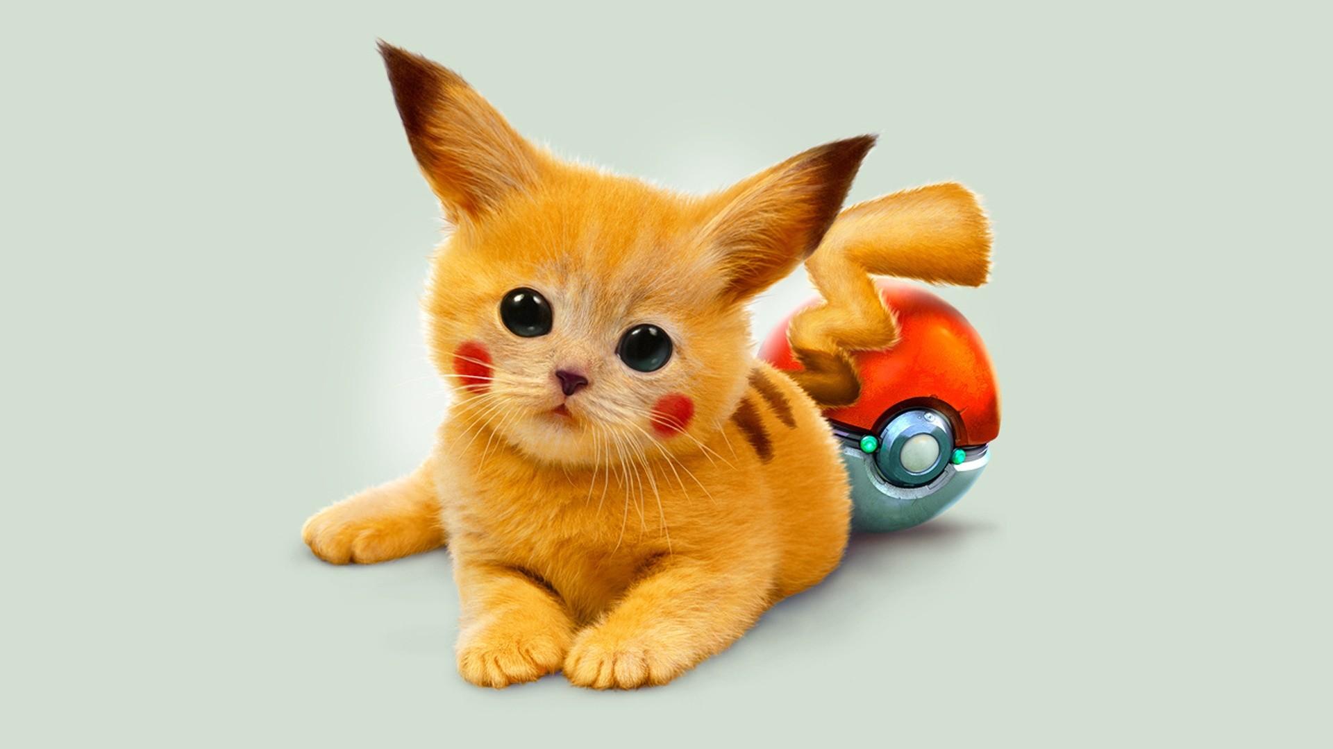 Preview wallpaper art, kitty, pokemon, red eyes, pikachu 1920×1080