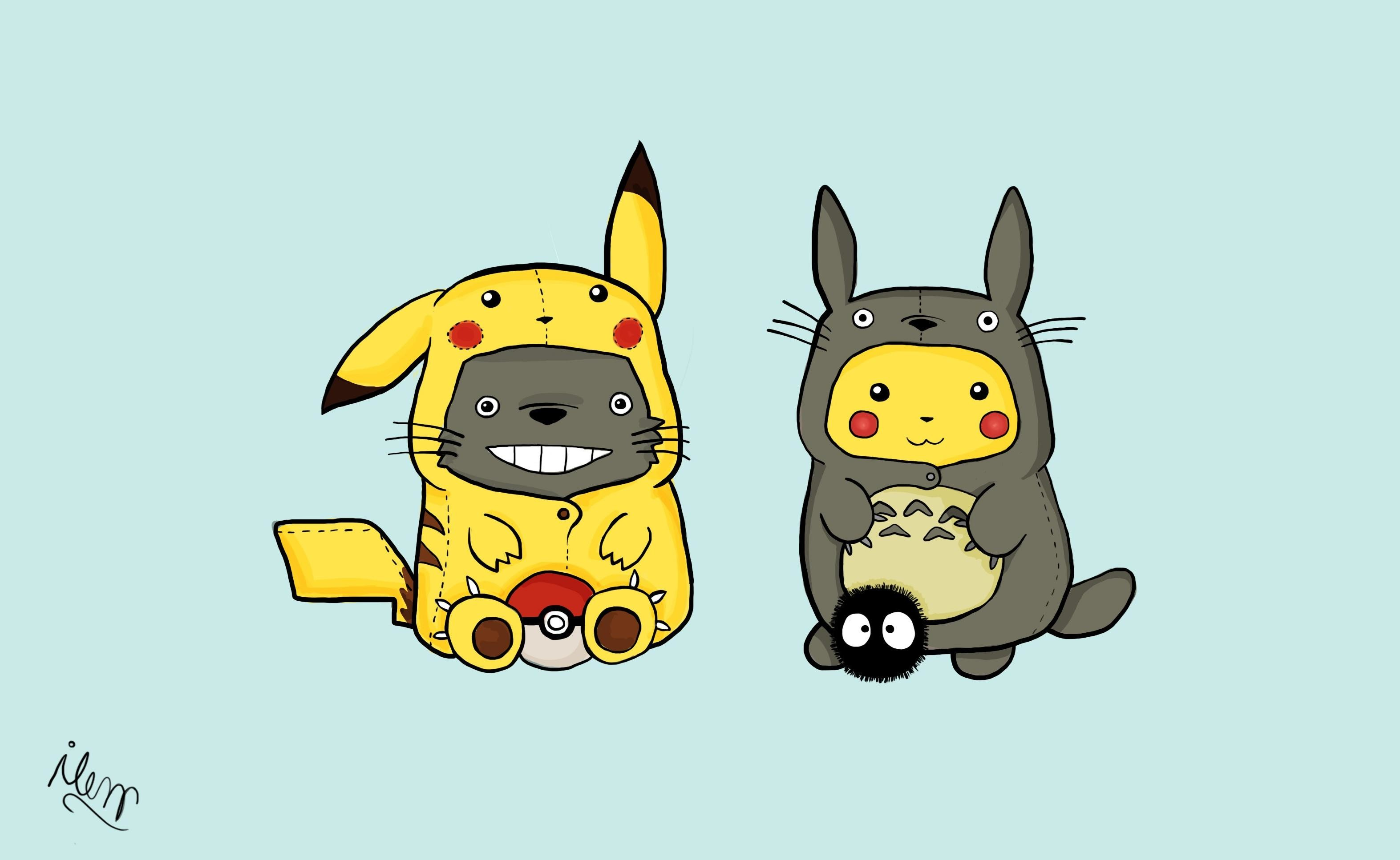 Pikachu-totoro-crossovers-HD-wallpaper-background