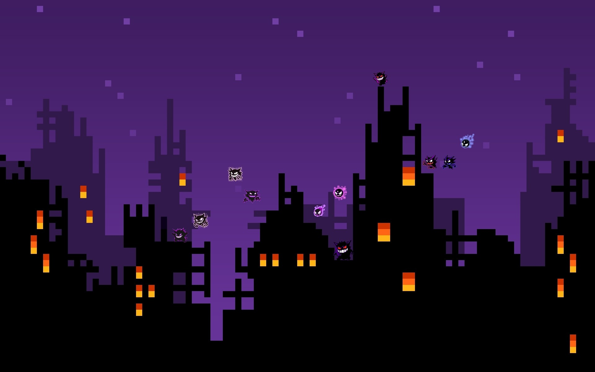 Ghost Poke-Line: A Skyline with The Ghost Pokemons: Gengar Haunter and  Gastly