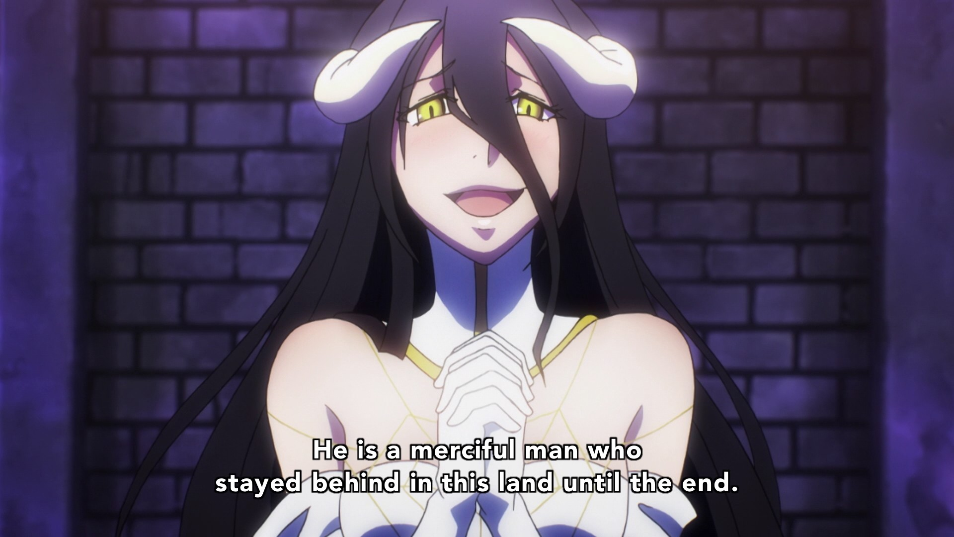 """Albedo also mentions Momonga staying """"until the end."""" Demiurge notices that  Shalltear still hasn't risen from her kneeling position."""