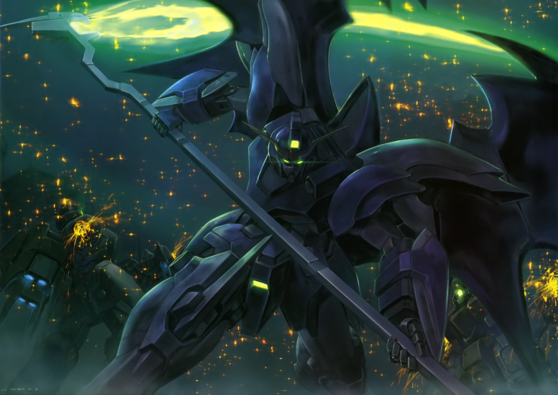 He's got a glowing green scythe!