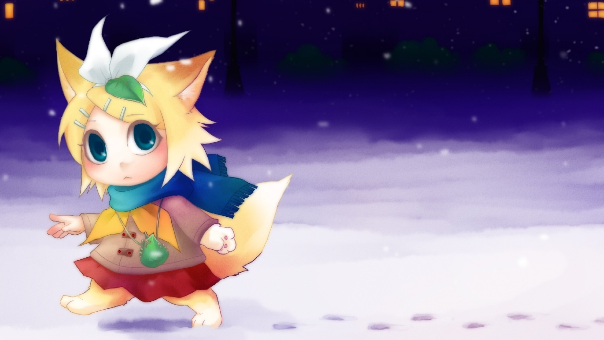 Preview wallpaper vocaloid, kagamine rin, chibi, anime, christmas, winter  2048×1152