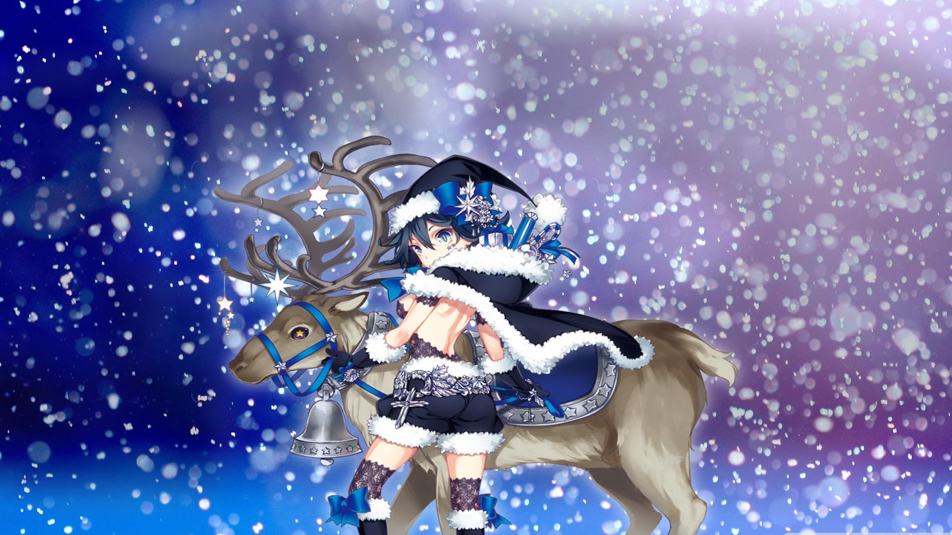 Blue Anime Girl Christmas Wallpaper by callmeteddy24 Blue Anime Girl Christmas  Wallpaper by callmeteddy24