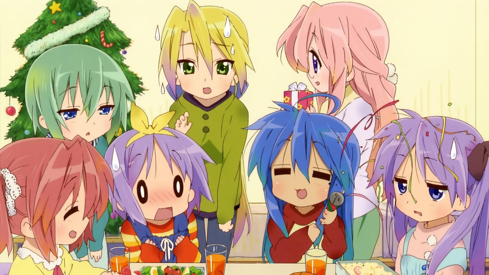Wallpaper anime, lucky star christmas, girls, table, resentment,  premises