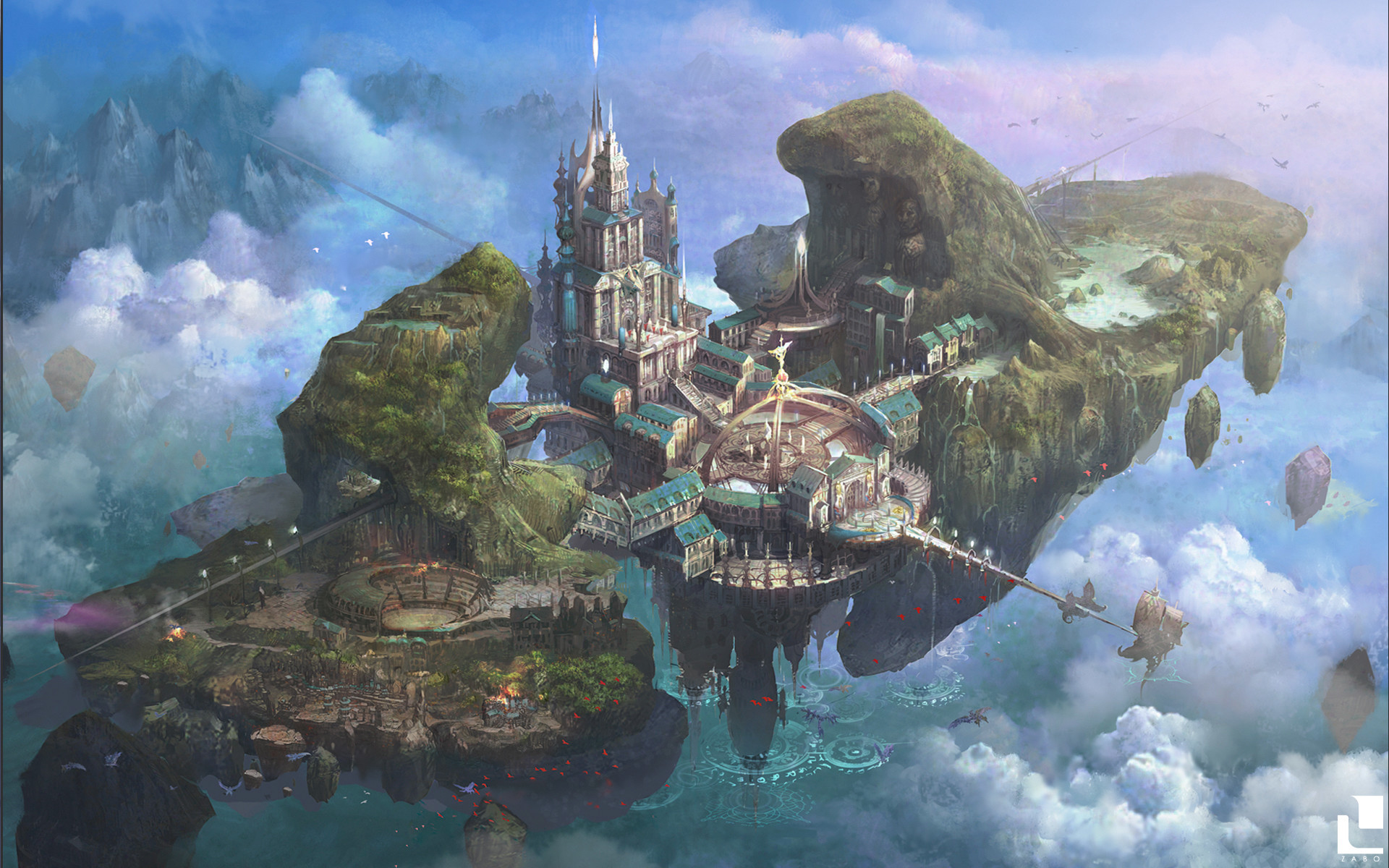 Castle in the sky (homage to Laputa) (x-post from /r/ImaginaryMindscapes)  [1920×1200].