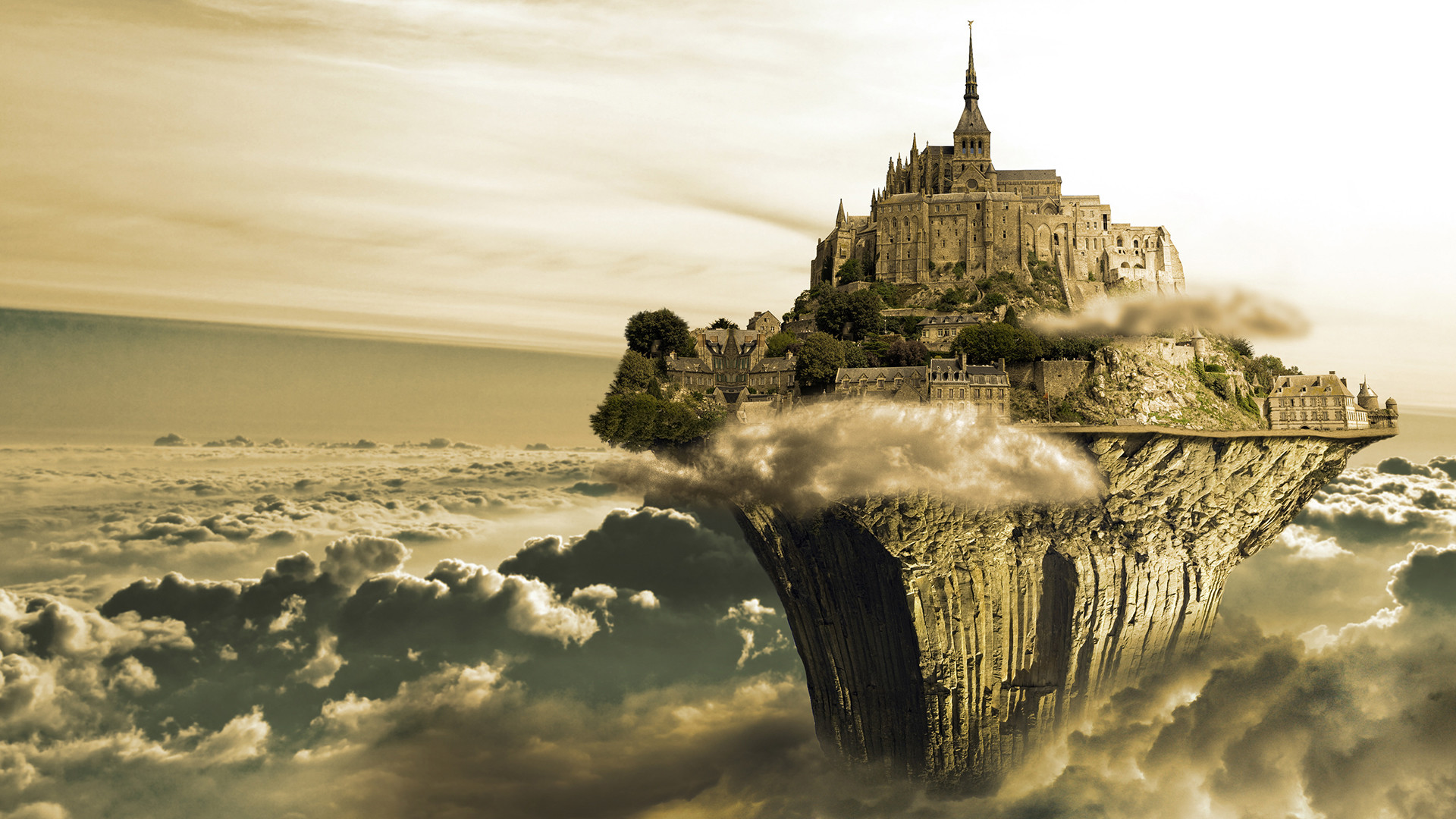 Fantasy Castle CGI Digital Art Island Surreal Cloud Sky Photo Manipulation  Fantasy Wallpaper