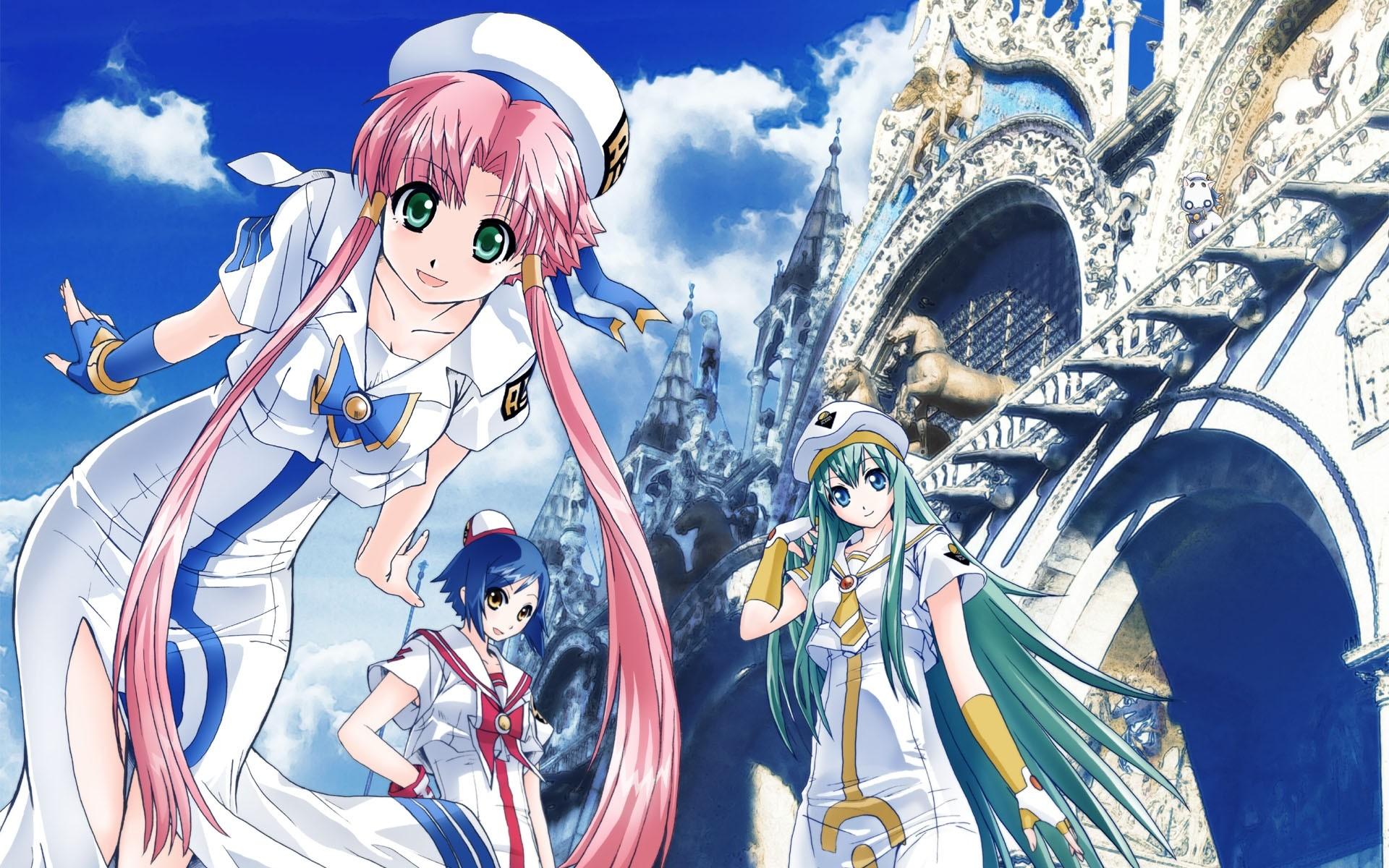 Wallpaper Anime girl, Building, Castle, Summer, Street, Sky, Joy