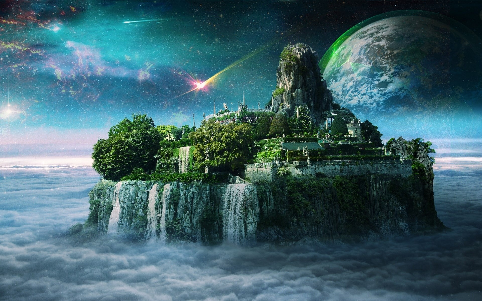 Magic Island Planet Clouds Sky wallpapers and stock photos