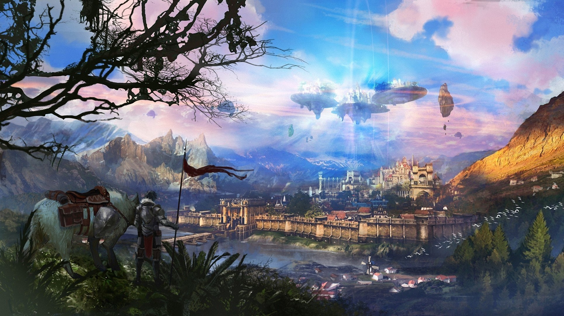 art fantasy castle flying in the sky horse horse man town tree landscape