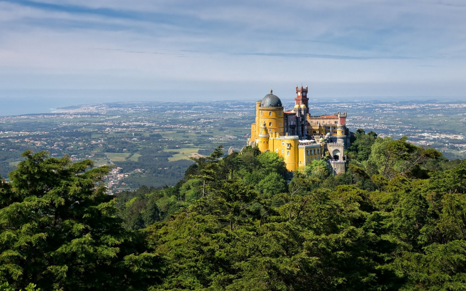 portugal pena palace sky valley mountain castle tower dome