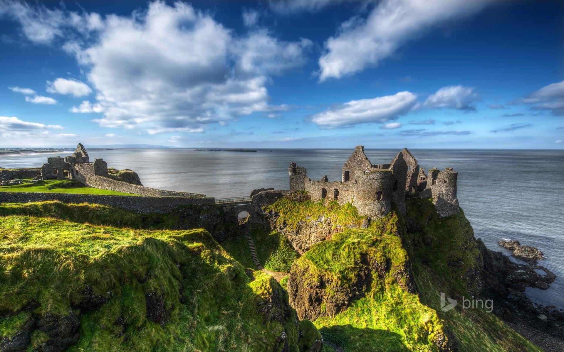 northern ireland county antrim dunluce castle sky sea ruins ruins rock