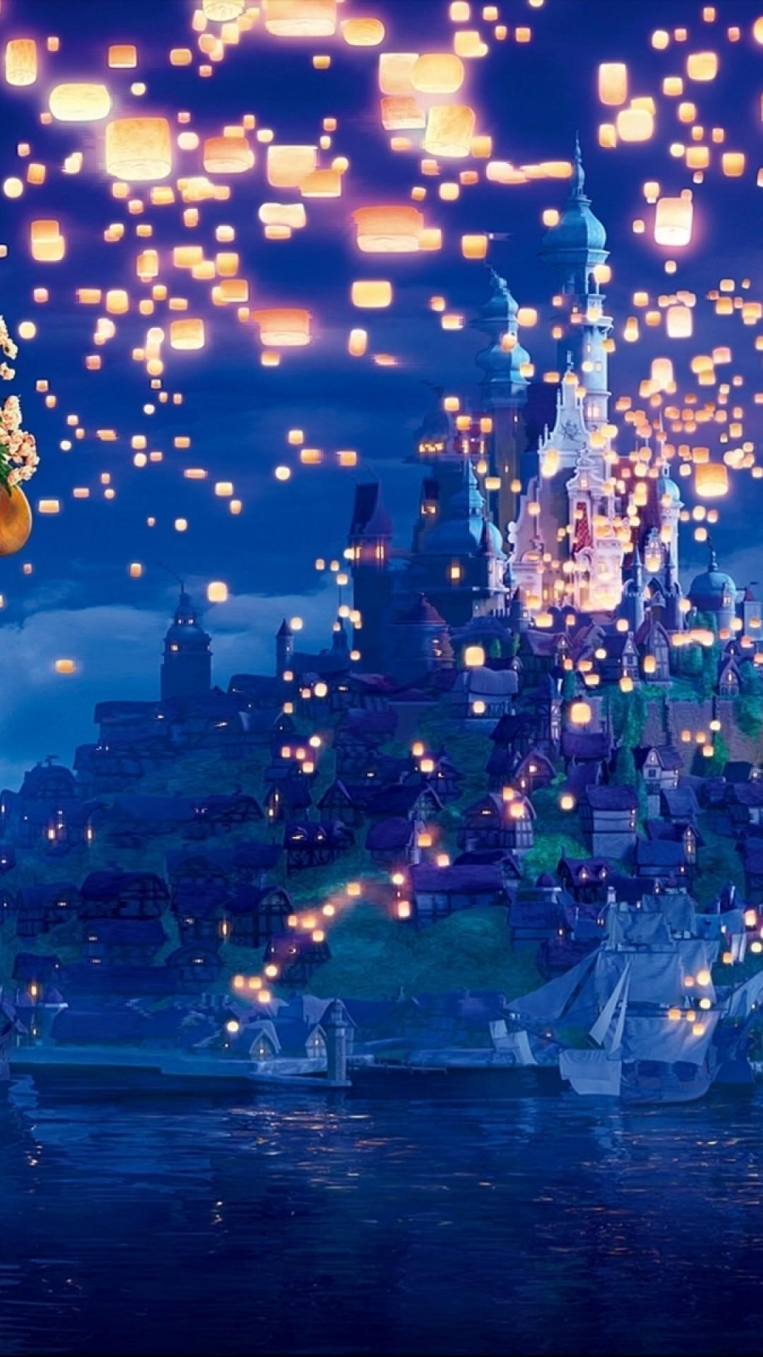 Tangled, Lanterns, Castle, Long Hair, Sky, Artwork, Animation