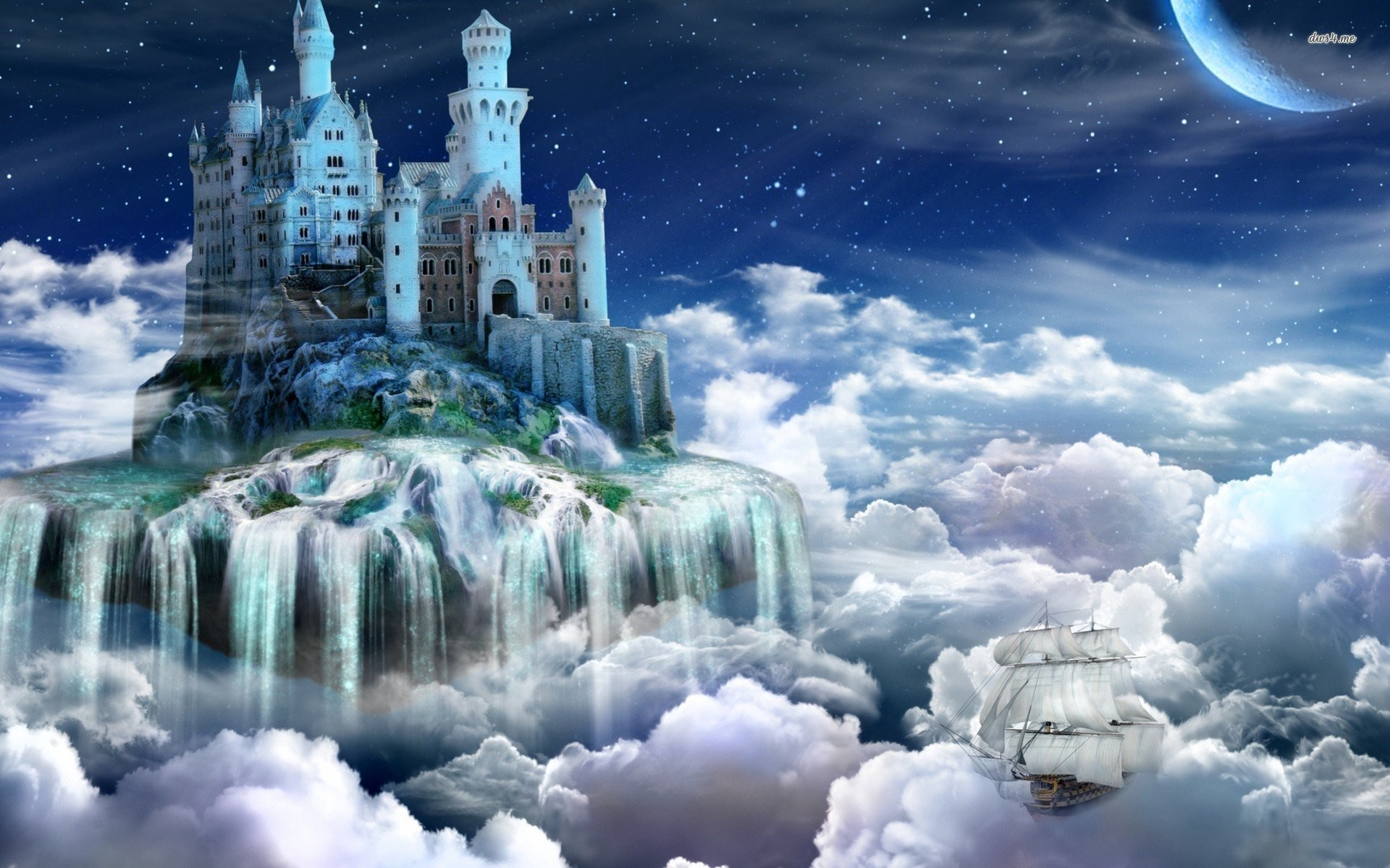 Small Island Under The Colorful Night Sky Wallpaper WallDevil