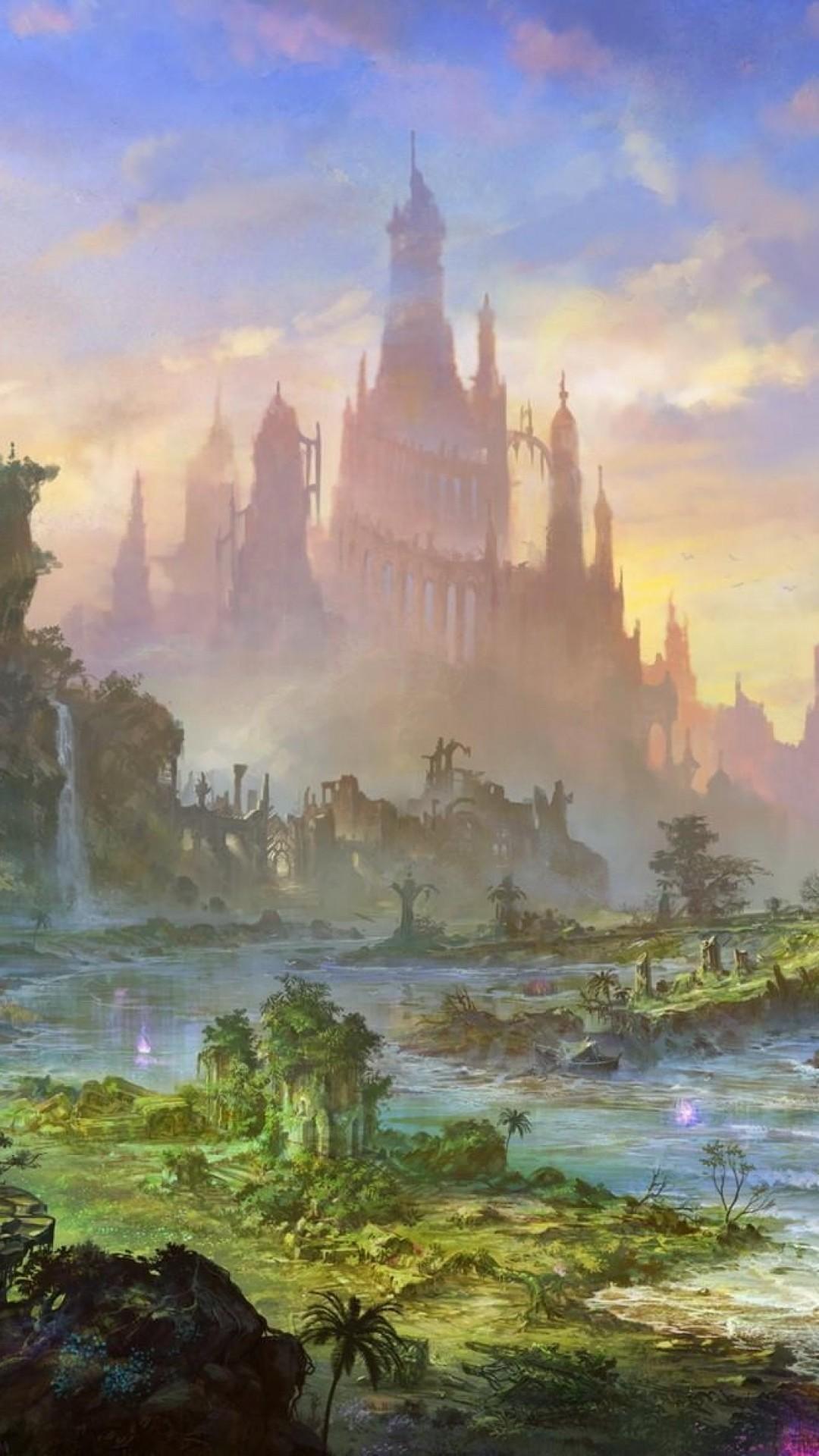 Wallpaper castle, rock, sea, green, sky