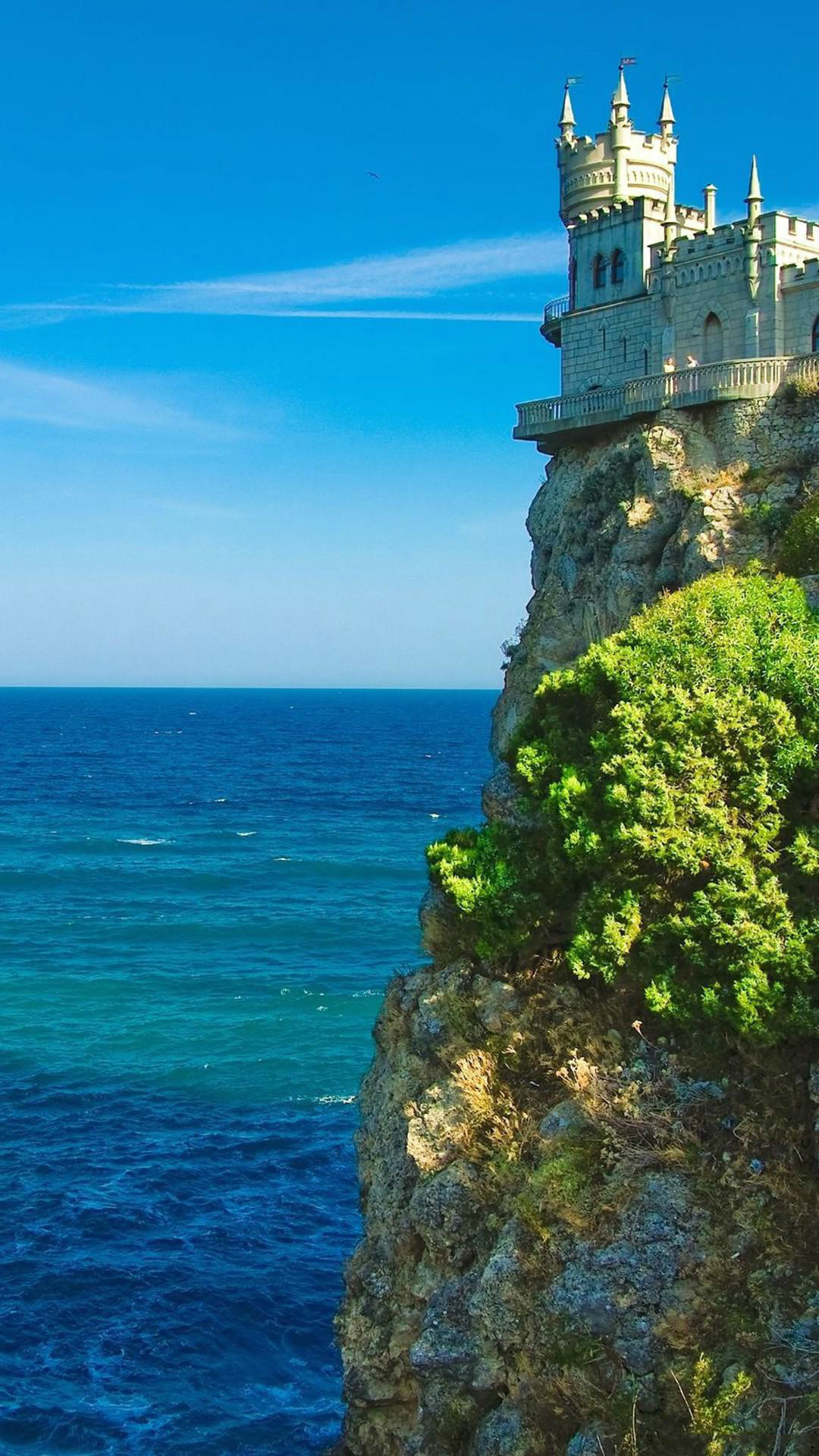 A Castle By Cliff In Coastal #iPhone #6 #plus #wallpaper