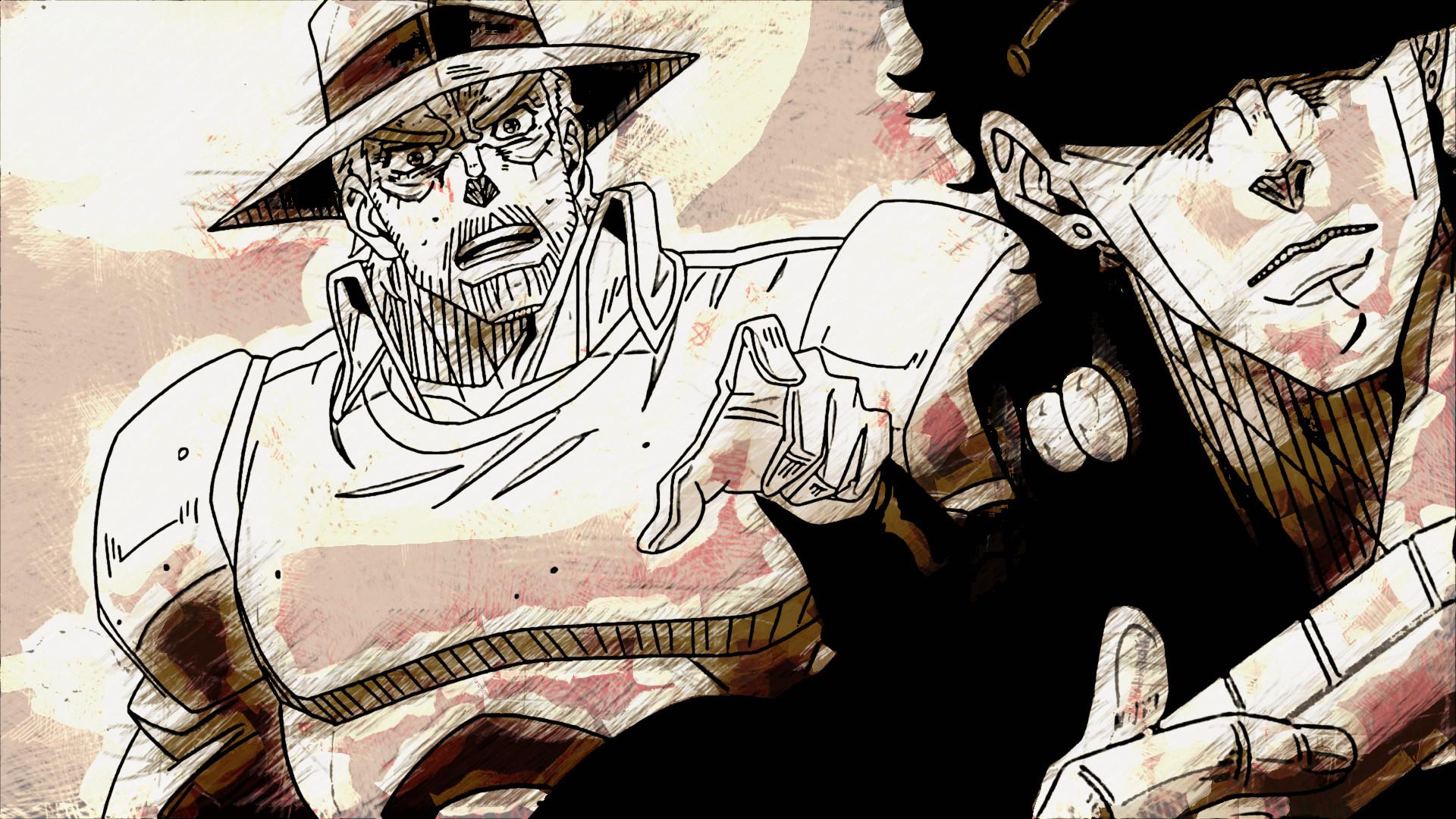 Anime – Jojo's Bizarre Adventure Joseph Joestar Jotaro Kujo Wallpaper