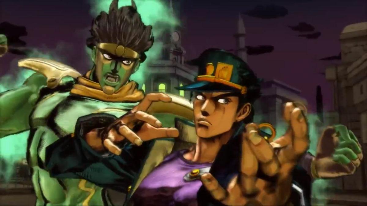 Jotaro Kujo (right) and his Stand, Star Platinum (left)