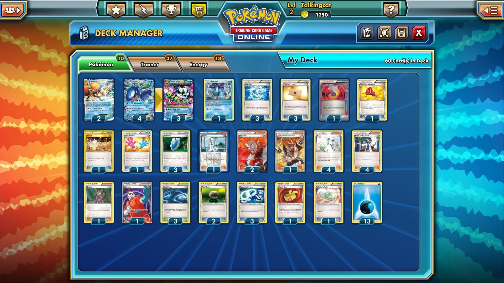 I've been working on a Primal Kyogre deck, and I thought I would share my  list. It's now pretty consistent, sets up well and smashes a lot of stuff.
