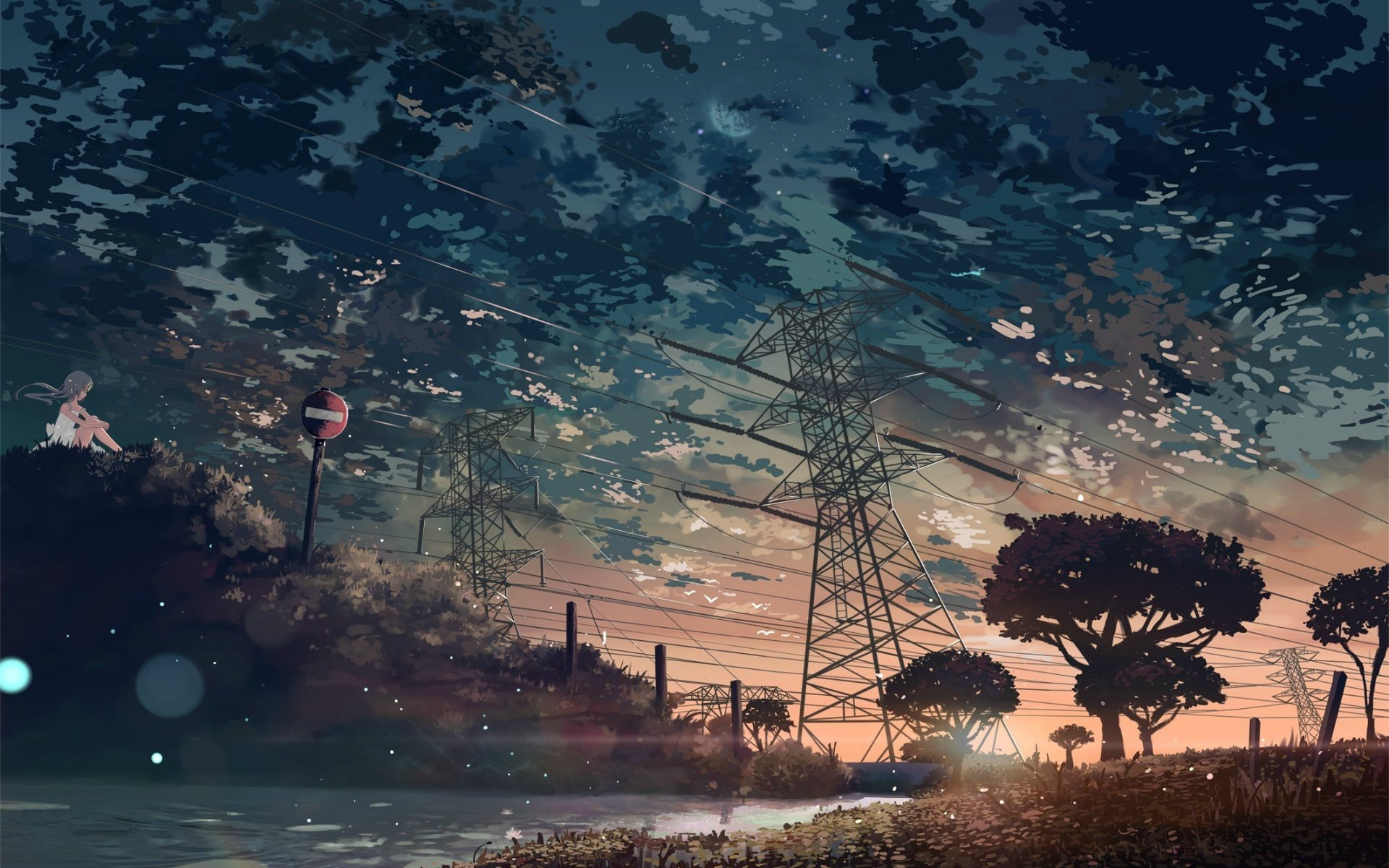 Anime anime nature trees sky anime girls power lines