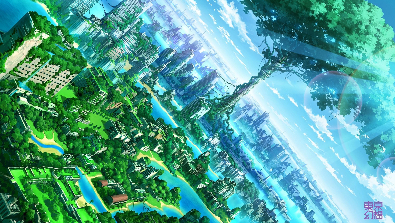 Anime Artwork Fantasy Art Cities Nature