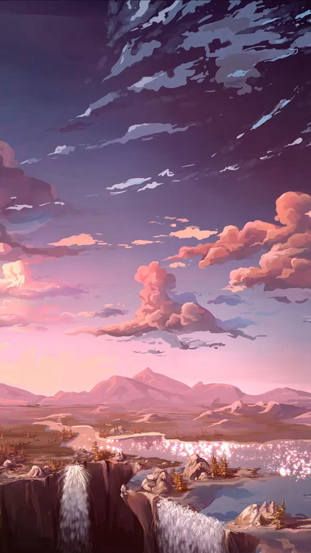 Nature Anime Art Sea iPhone 8 wallpaper
