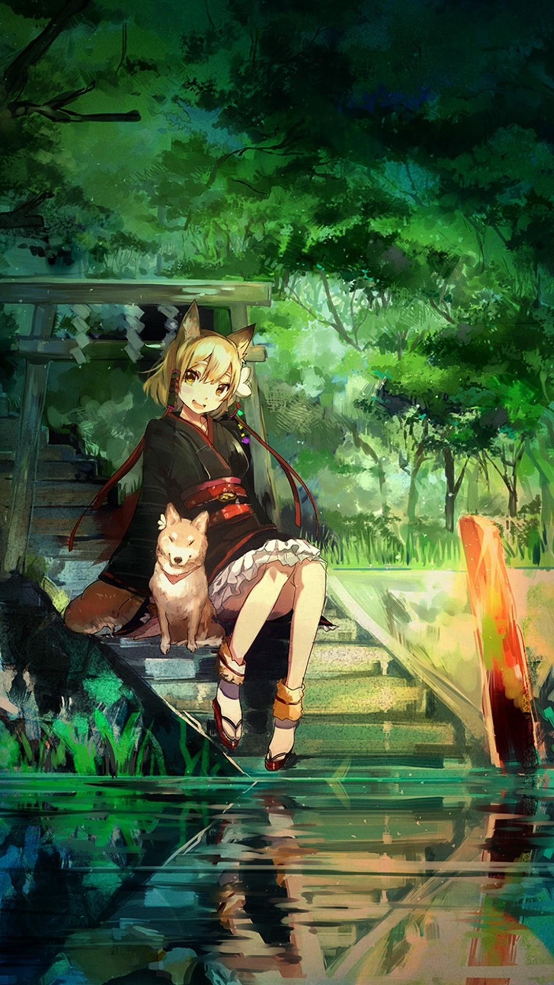 Girl And Dog Green Nature Anime Art Illust iPhone 6 plus wallpaper.