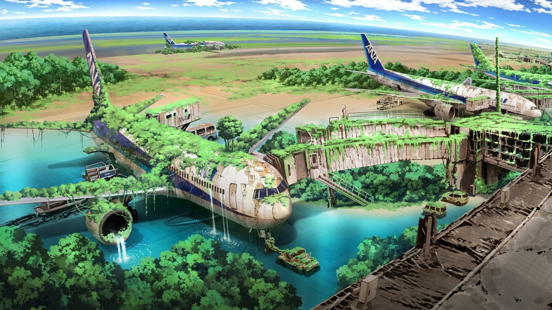 Apocalyptic Planes Nature Anime Aircraft Drawings