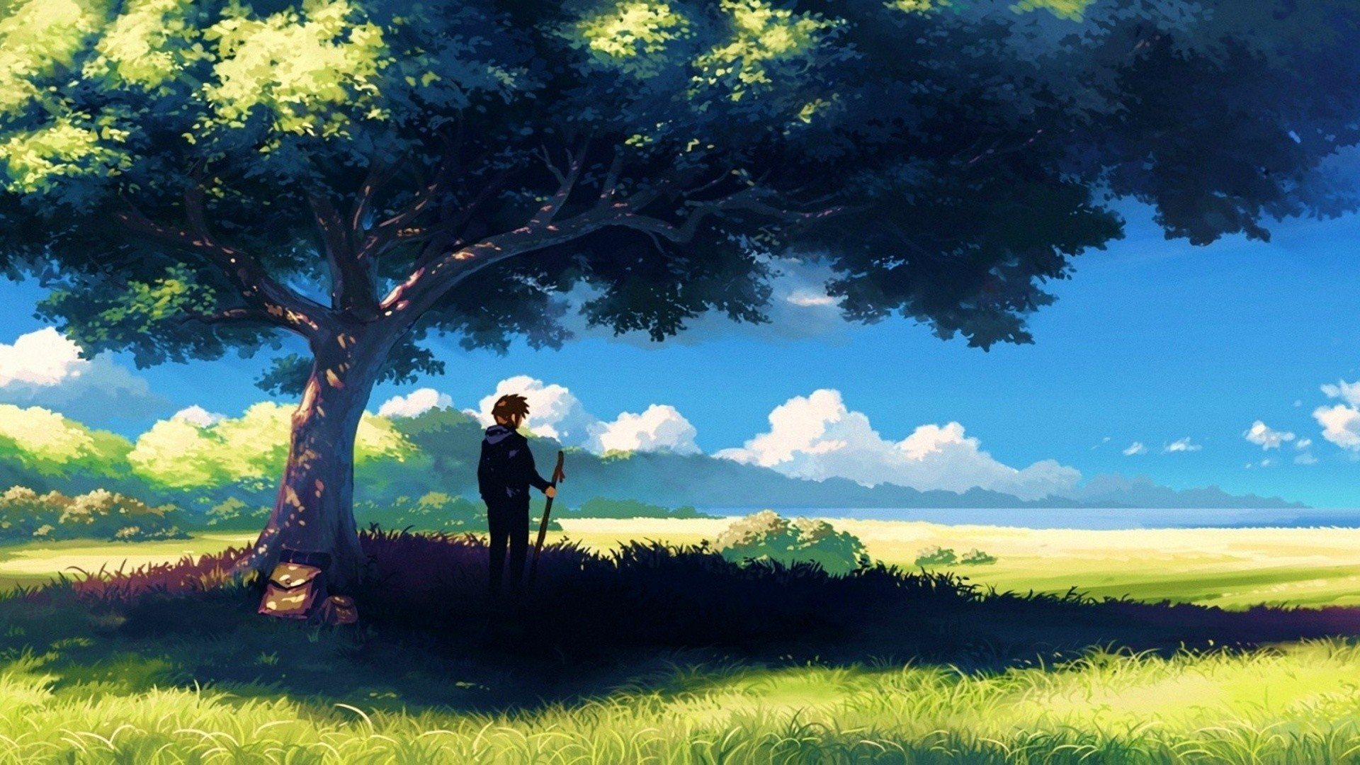 Anime, Scenery, Boy Under Tree, Anime Scenery Wallpapers .