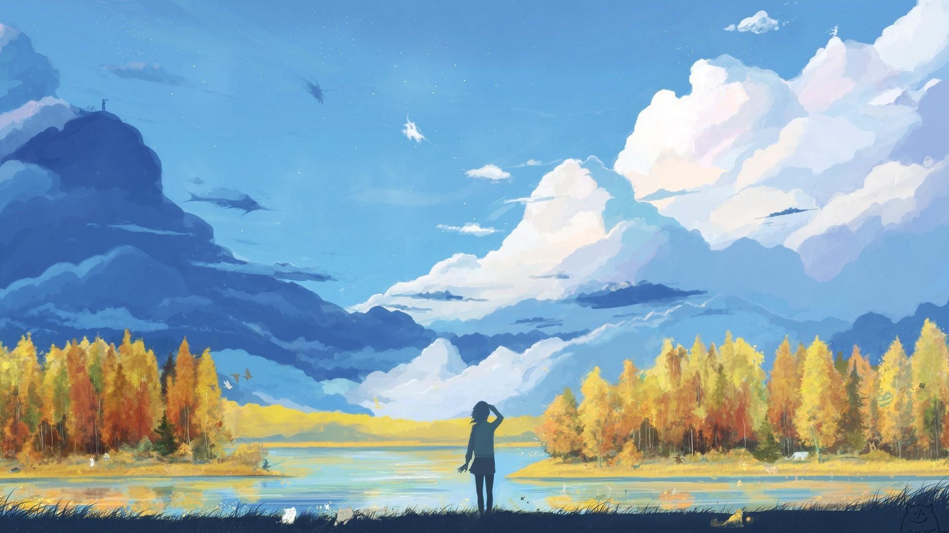 anime, Landscape, Nature, Fantasy art, Minimalism, Vector Wallpapers HD /  Desktop and Mobile Backgrounds