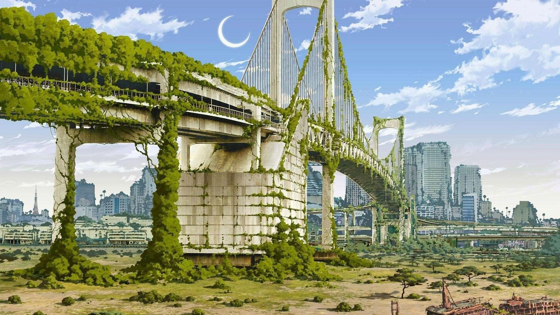 Anime Artwork Cities Nature Japan Fantasy Art Apocalyptic