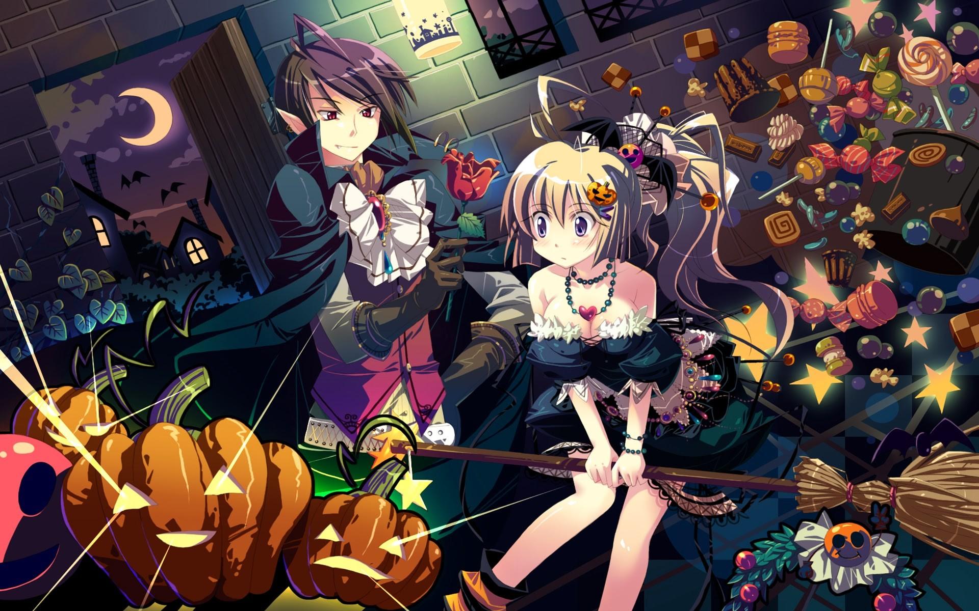 cute anime girls pumpkin lantern halloween wallpaper hd 1920×1080 a160  Source · Cute Halloween Vampire Wallpaper WallpaperSafari