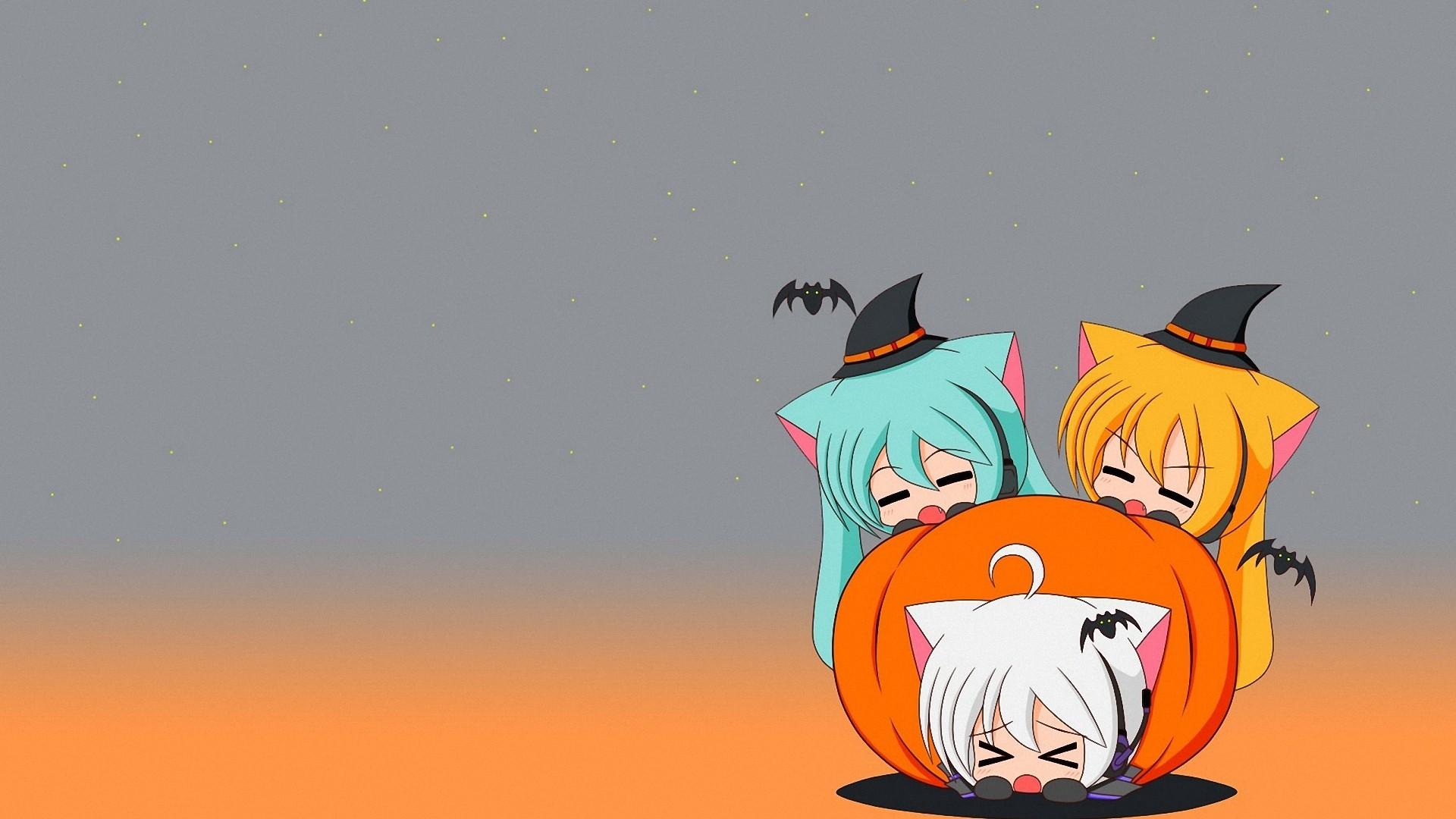 cartoon halloween anime girl 1080P full HD wallpapers