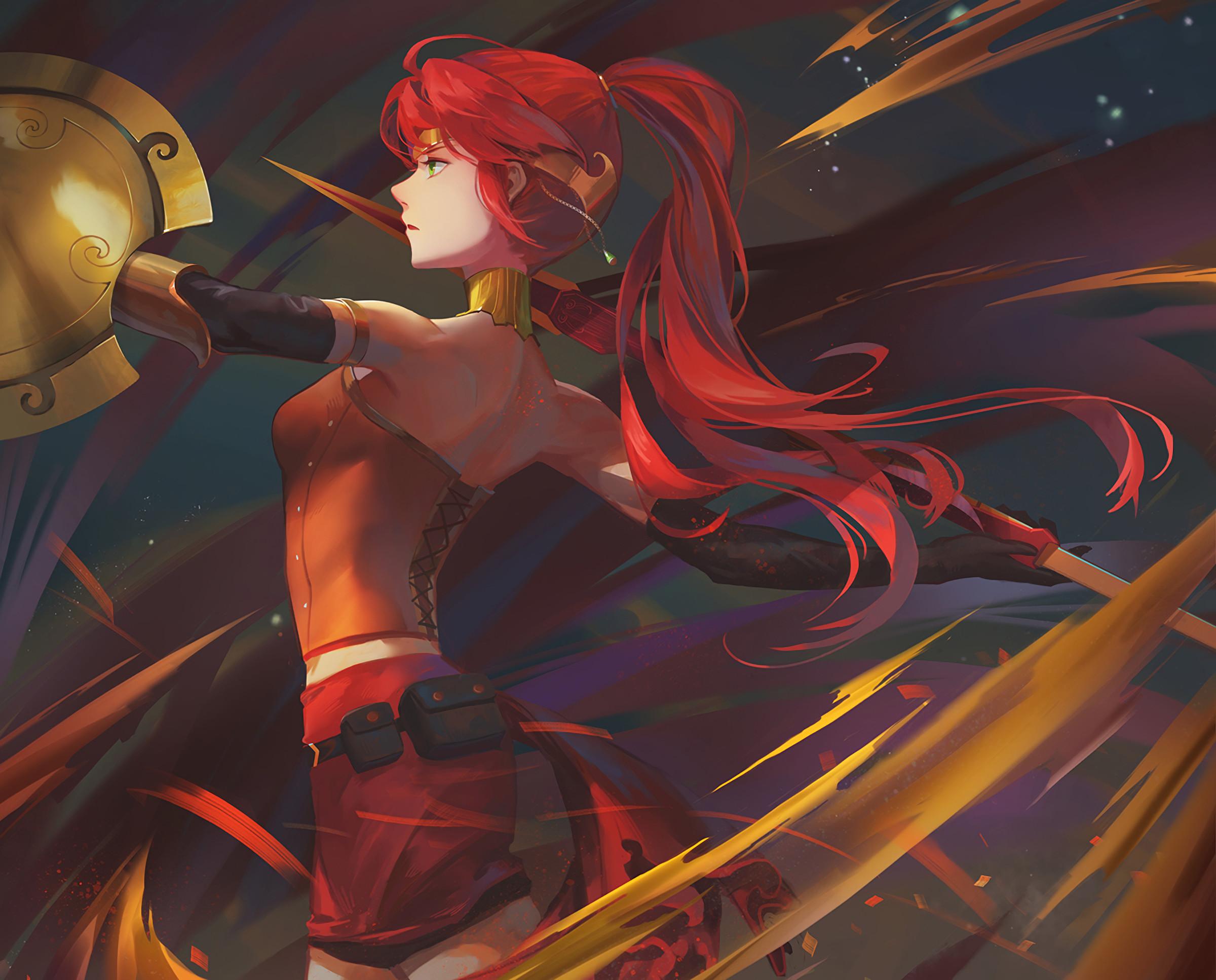 Anime anime anime girls RWBY Pyrrha Nikos long hair redhead weapon