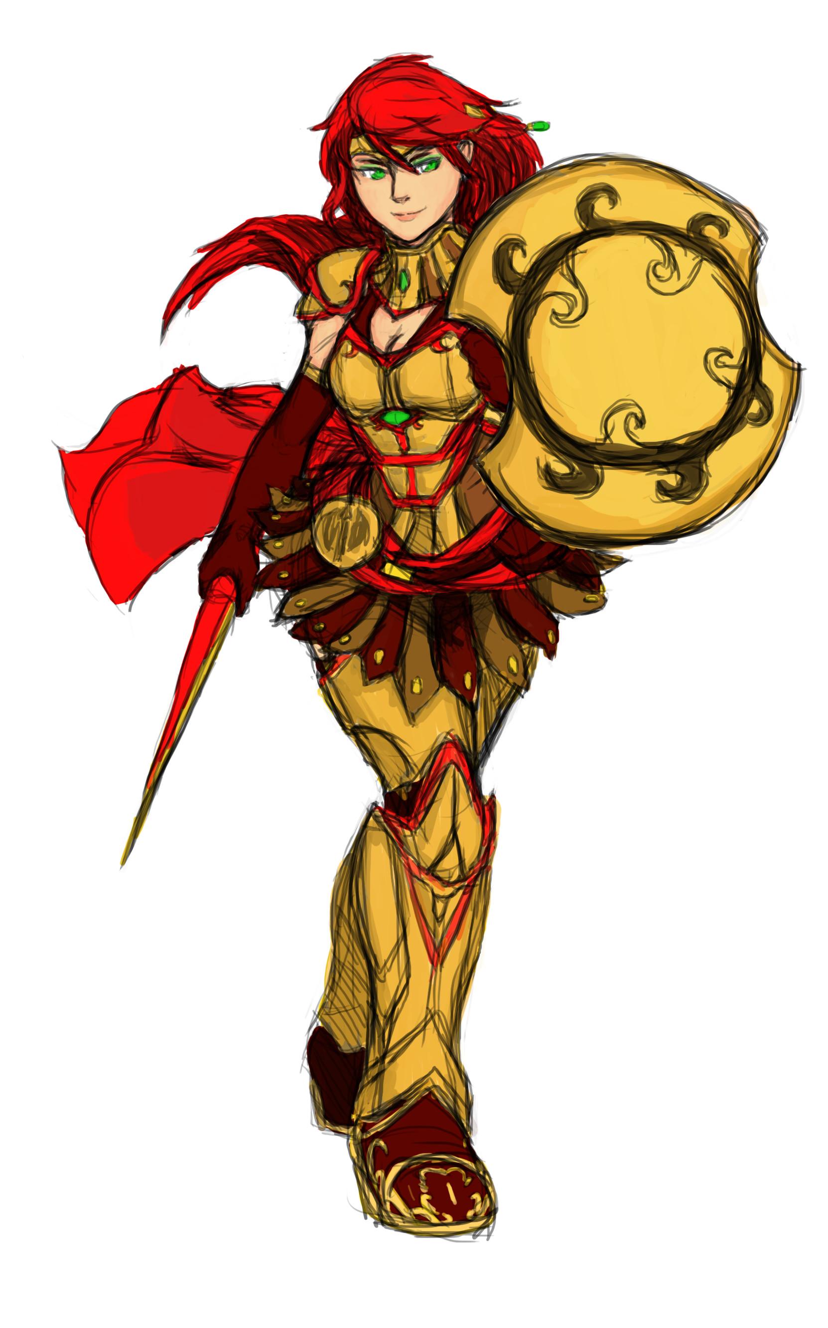 … Pyrrha nikos armored sketch colored alt by Razenix-Angel