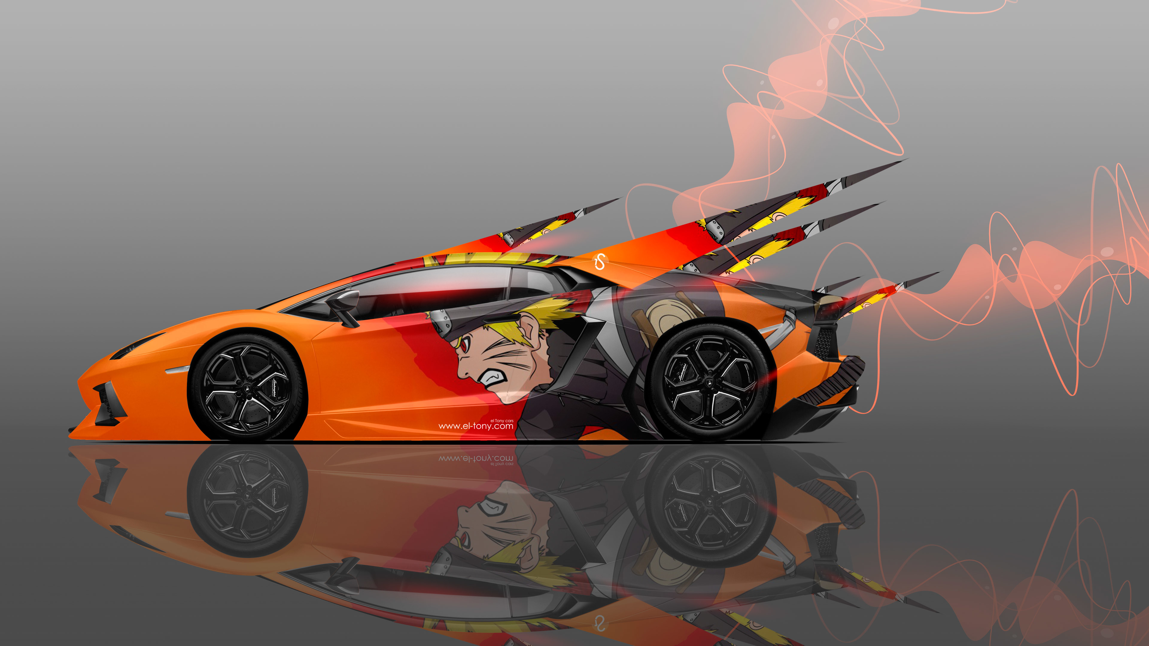 4K Lamborghini Aventador Side Anime Aerography Car 2014