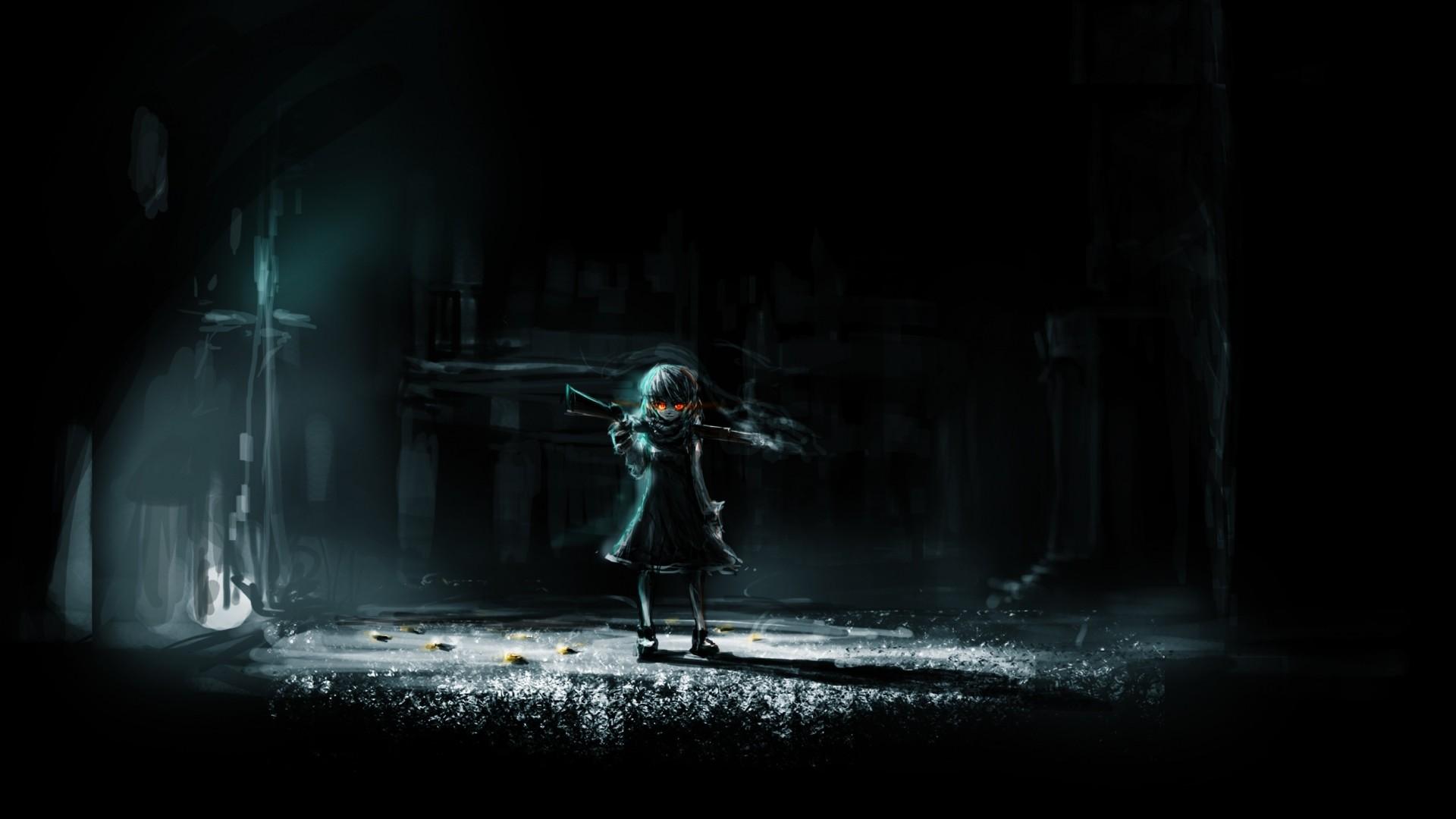 Preview wallpaper dark anime, girl, art, dark, night 1920×1080