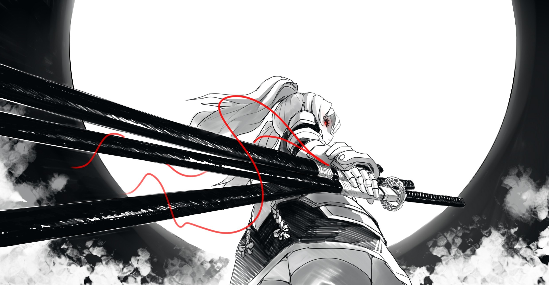 drawing, Digital Art, Samurai, Sword, Katana, Dark, Anime, Selective  Coloring Wallpapers HD / Desktop and Mobile Backgrounds